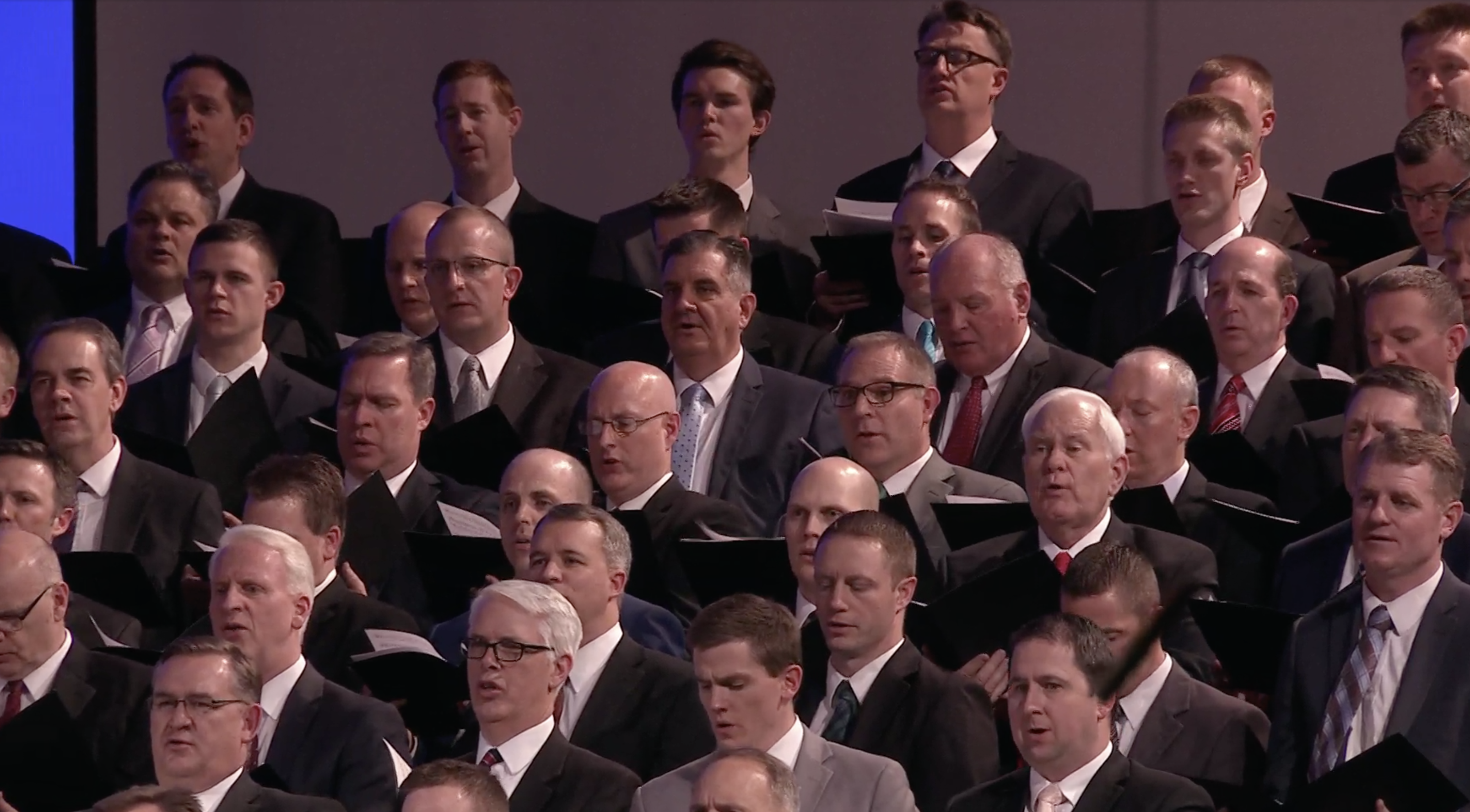 """Choir performs during """"An Evening with a General Authority: Elder Ronald A. Rasband"""" devotional, which was broadcast from the Tabernacle on Temple Square to Church Educational System employees, missionaries and their spouses on Feb. 8, 2019."""