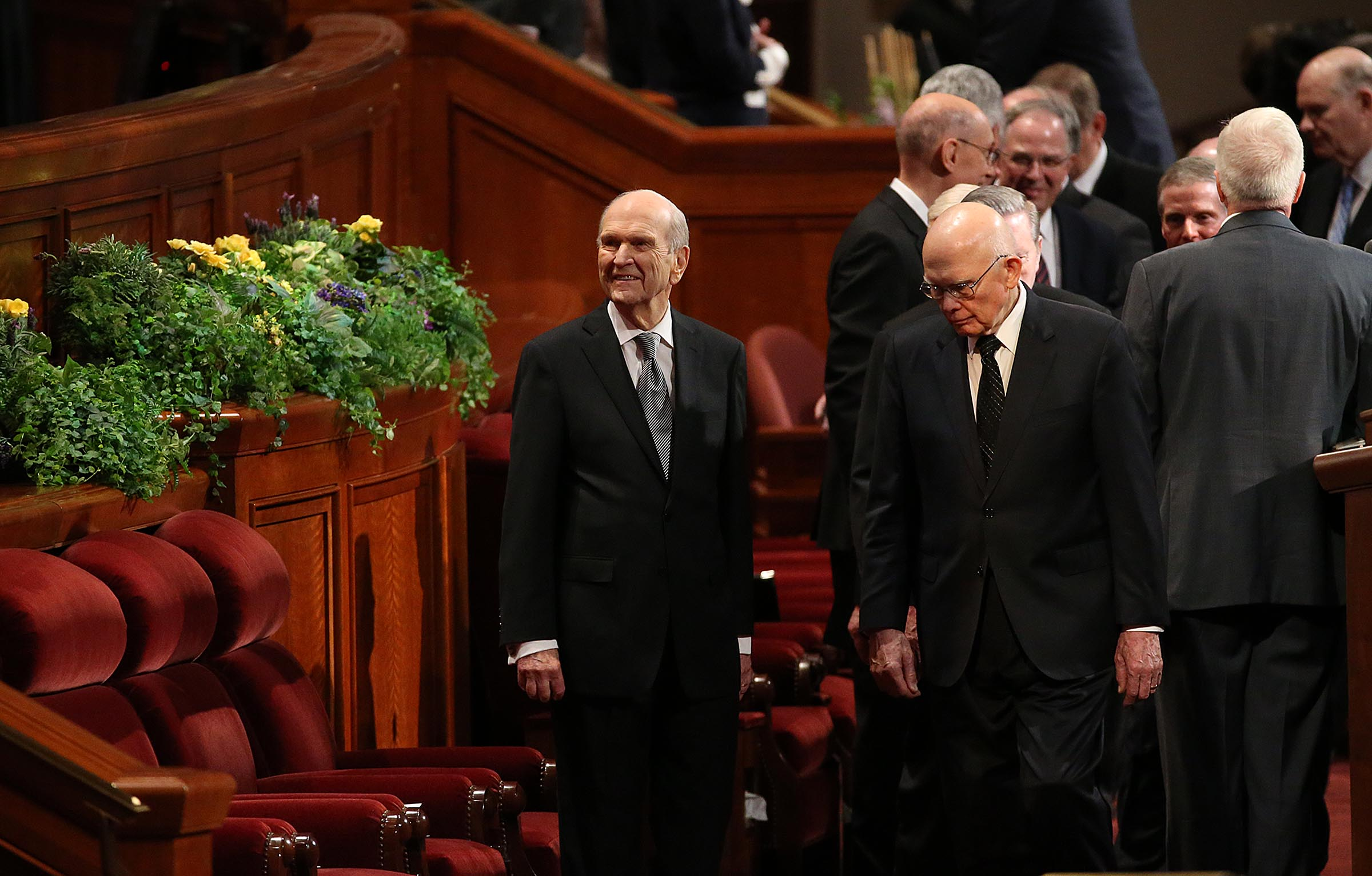 President Russell M. Nelson, president of the Church's Quorum of the Twelve Apostles, and Elder Dallin H. Oakes, a member of the Quorum of the Twelve Apostles, arrive for President Thomas S. Monson's funeral at the Conference Center in Salt Lake City on Friday, Jan. 12, 2018.
