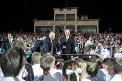 President Thomas S. Monson shakes hands with dozens of young people after cultural celebration for The Gila Valley Arizona Temple May 22.