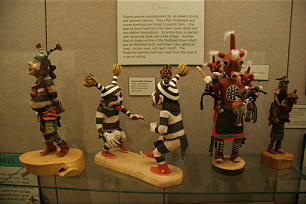 Playful clown Kachina dolls are included in exhibit at BYU's Museum of Peoples and Cultures, one of many museums on the school's campus.