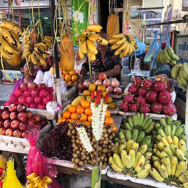 Street markets near the mission home in Phnom Penh where many buy their fresh produce.