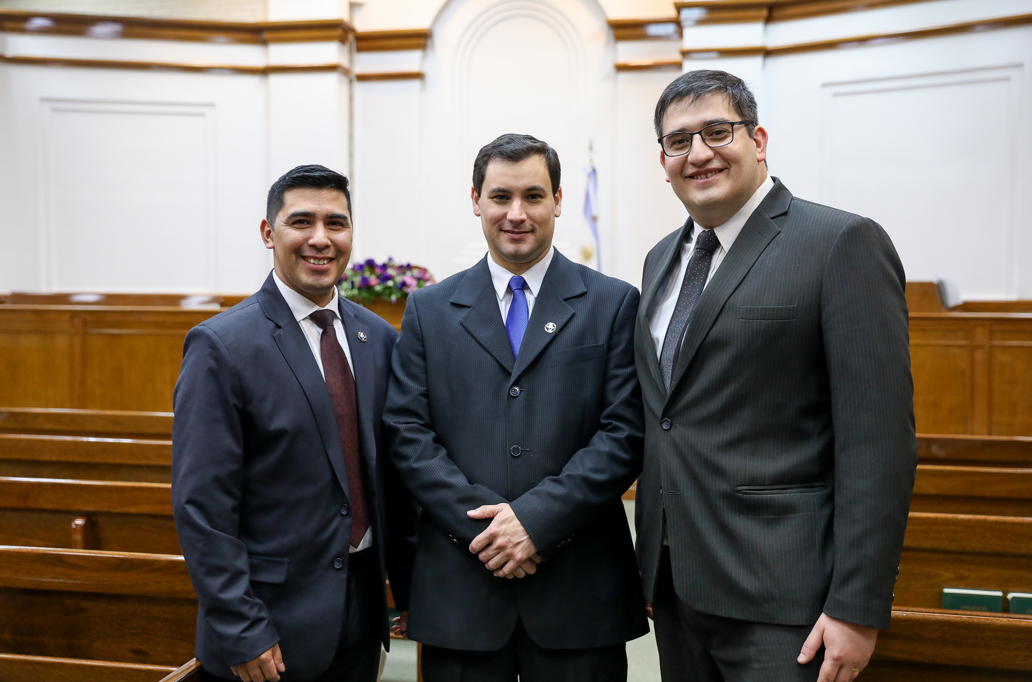 The new stake presidency of the Tierra del Fuego Argentina Stake in southern Argentina pose for a photo on June 2, 2019.