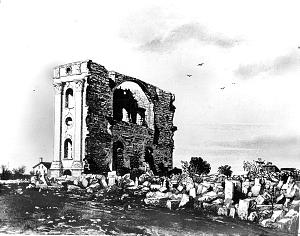 Only one temple wall remained after tornado. Wall stood until 1865.