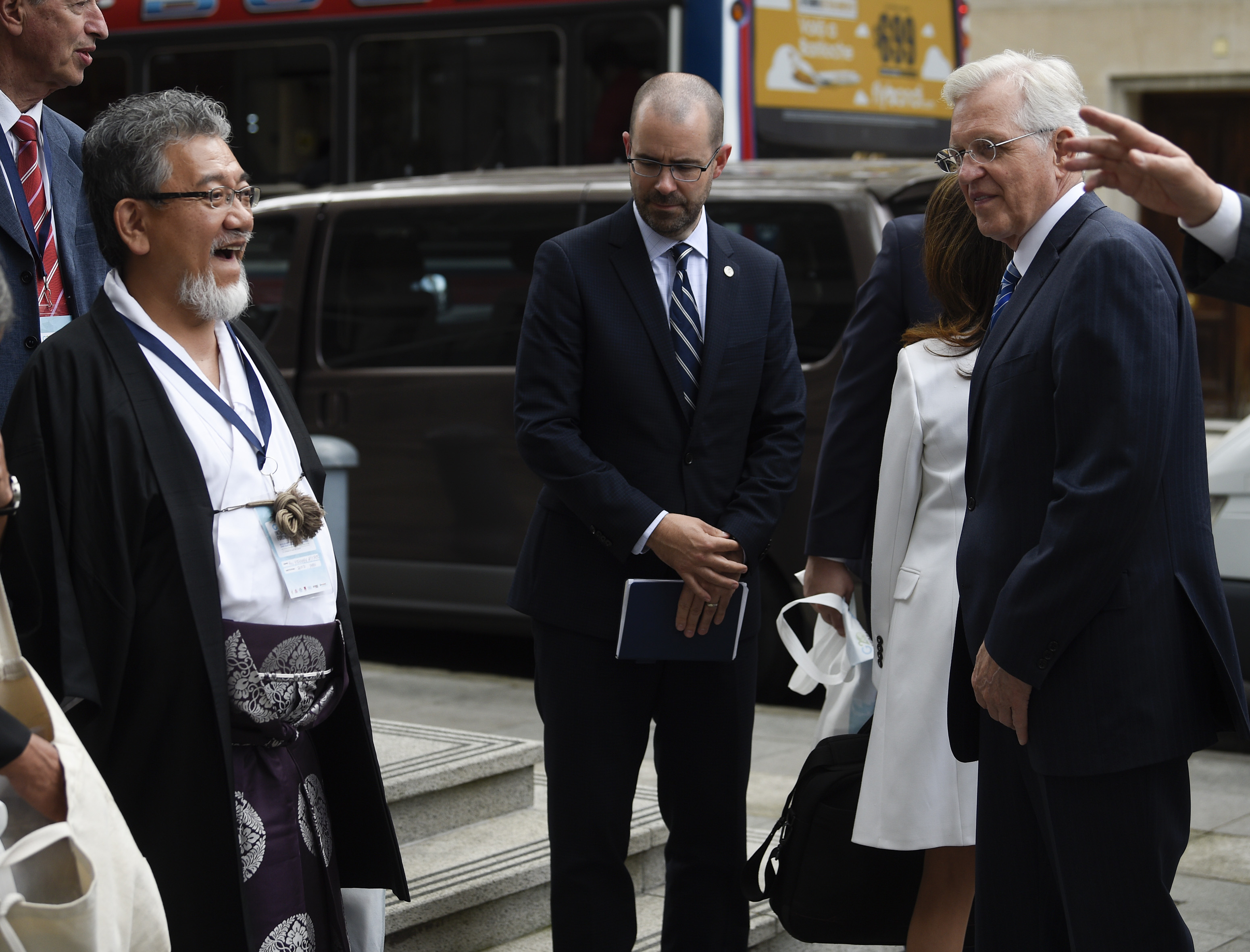 Elder D. Todd Christofferson, right, with others at the G20 Interfaith Forum in Buenos Aires, Argentina, on Wednesday, Sept. 26, 2018.