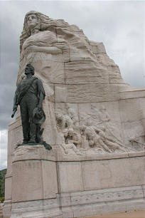 Monument honoring Mormon Pioneer soldiers on the grounds of the Utah State Capitol.