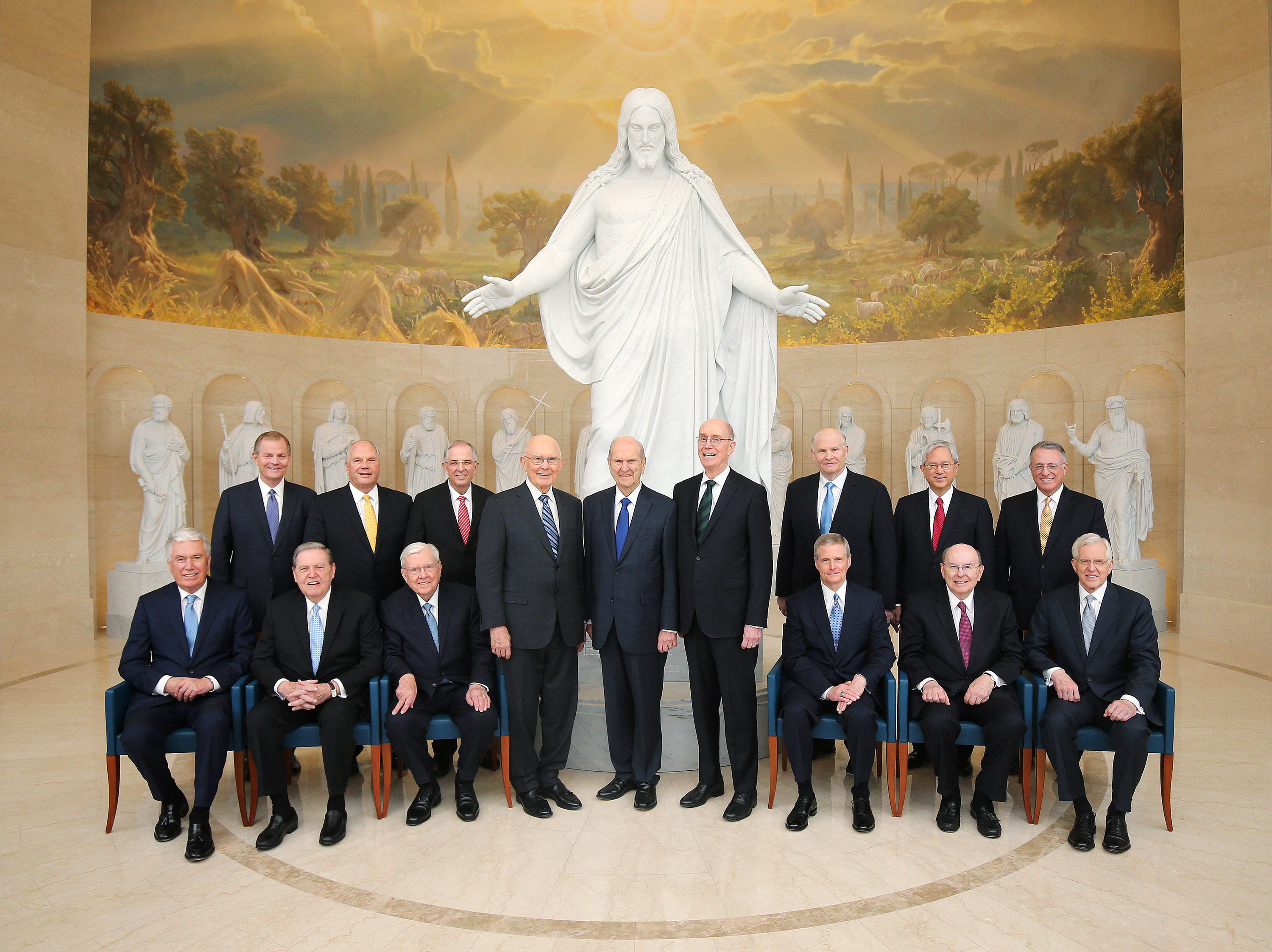 Every member of the First Presidency and the Quorum of the Twelve Apostles of The Church of Jesus Christ of Latter-day Saints posed for an iconic photograph in the Rome Italy Temple visitors center in Rome, Italy on Monday, March 11, 2019. Front center are President Russell M. Nelson and his counselors in the First Presidency, President Dallin H. Oaks and President Henry B. Eyring. Also included are members of the Quorum of the Twelve Apostles: President M. Russell Ballard, Elder Jeffrey R. Holland, Elder Dieter F. Uchtdorf, Elder David A. Bednar, Elder Quentin L. Cook, Elder D. Todd Christofferson, Elder Neil L. Andersen, Elder Ronald A. Rasband, Elder Gary E. Stevenson, Elder Dale G. Renlund, Elder Gerrit W. Gong and Elder Ulisses Soares.