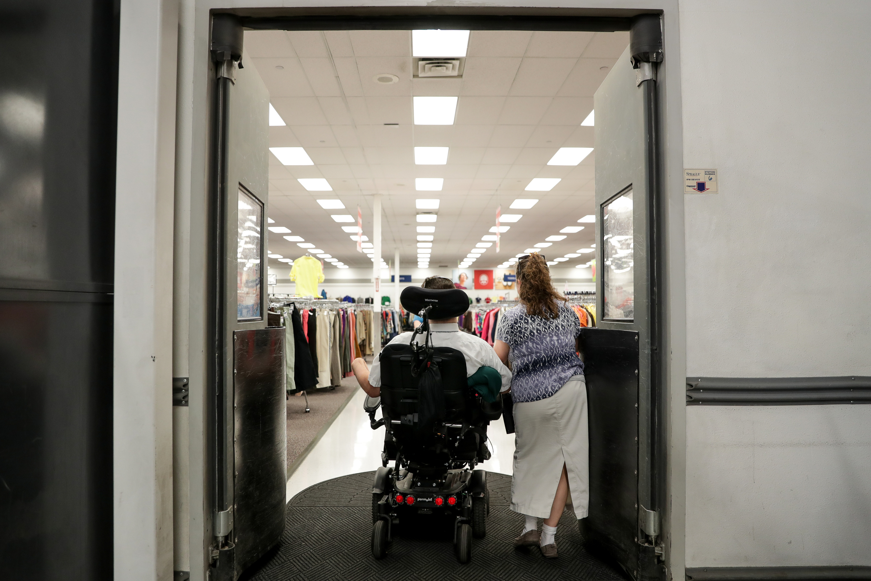 Orin Voorheis and his wife, Chartina, arrive at Deseret Industries in American Fork, Utah, where Orin works as a greeter, on Wednesday, July 11, 2018.
