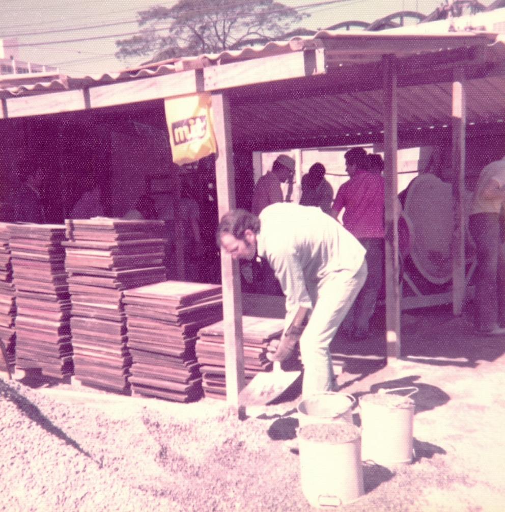 LDS Church members volunteer to help with construction of the São Paulo Temple in São Paulo, Brazil between 1976 and 1978.