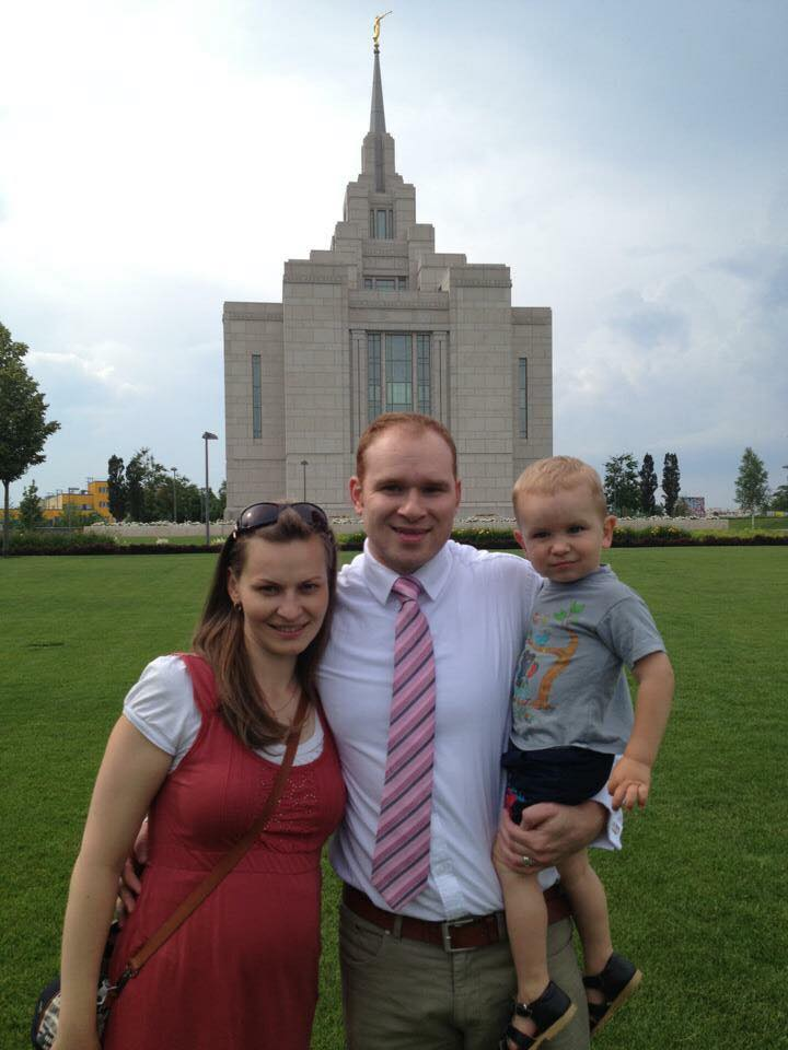 Konstantin Serebrennikov with his wife Maria and their son Roman on a family trip to the Kiev Ukraine Temple. He says they feel spoiled to live close to a temple.