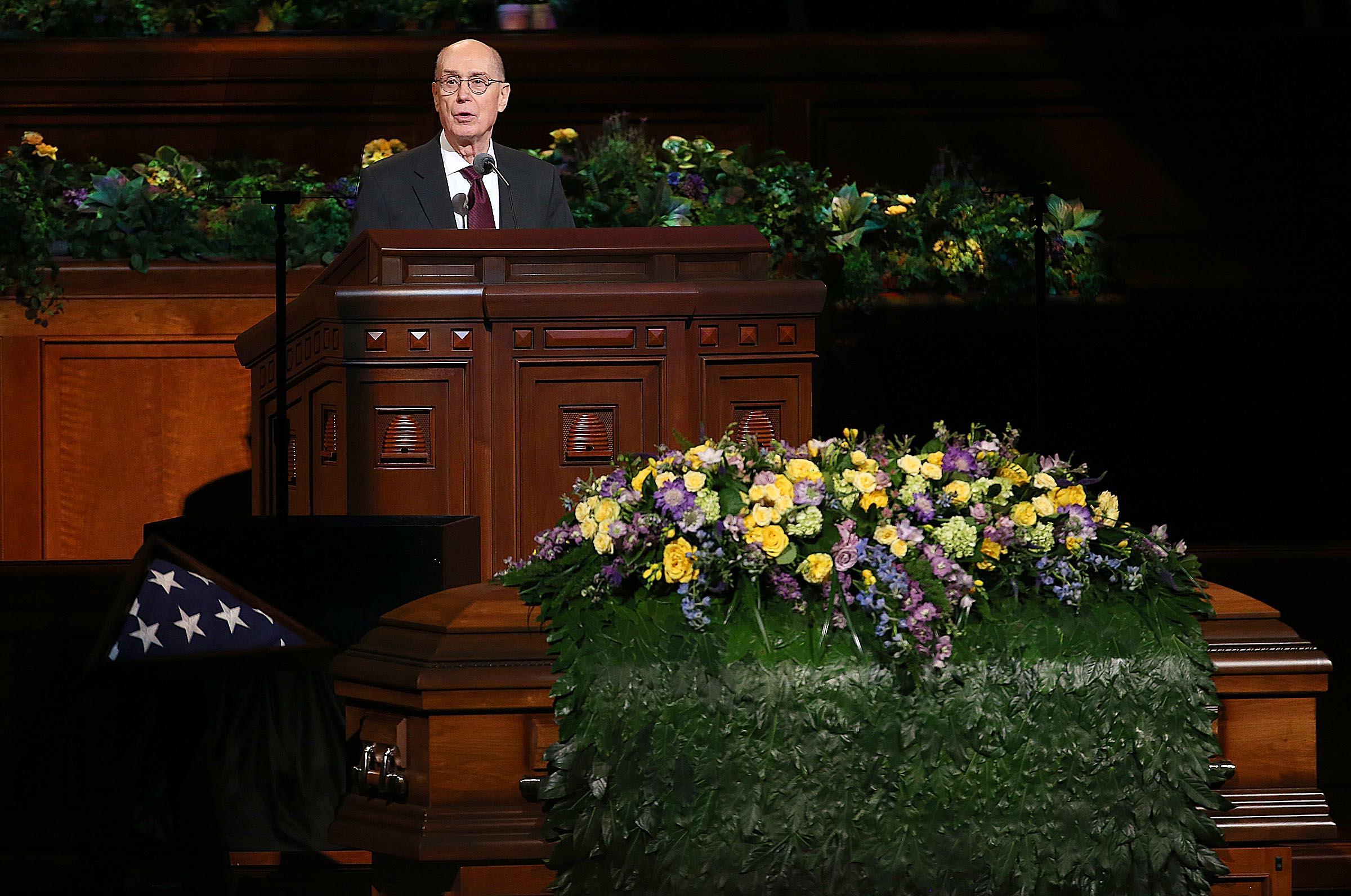 President Henry B. Eyring speaks at LDS Church President Thomas S. Monson's funeral at the Conference Center in Salt Lake City on Friday, Jan. 12, 2018. President Eyring was one of President Monson's counselors.