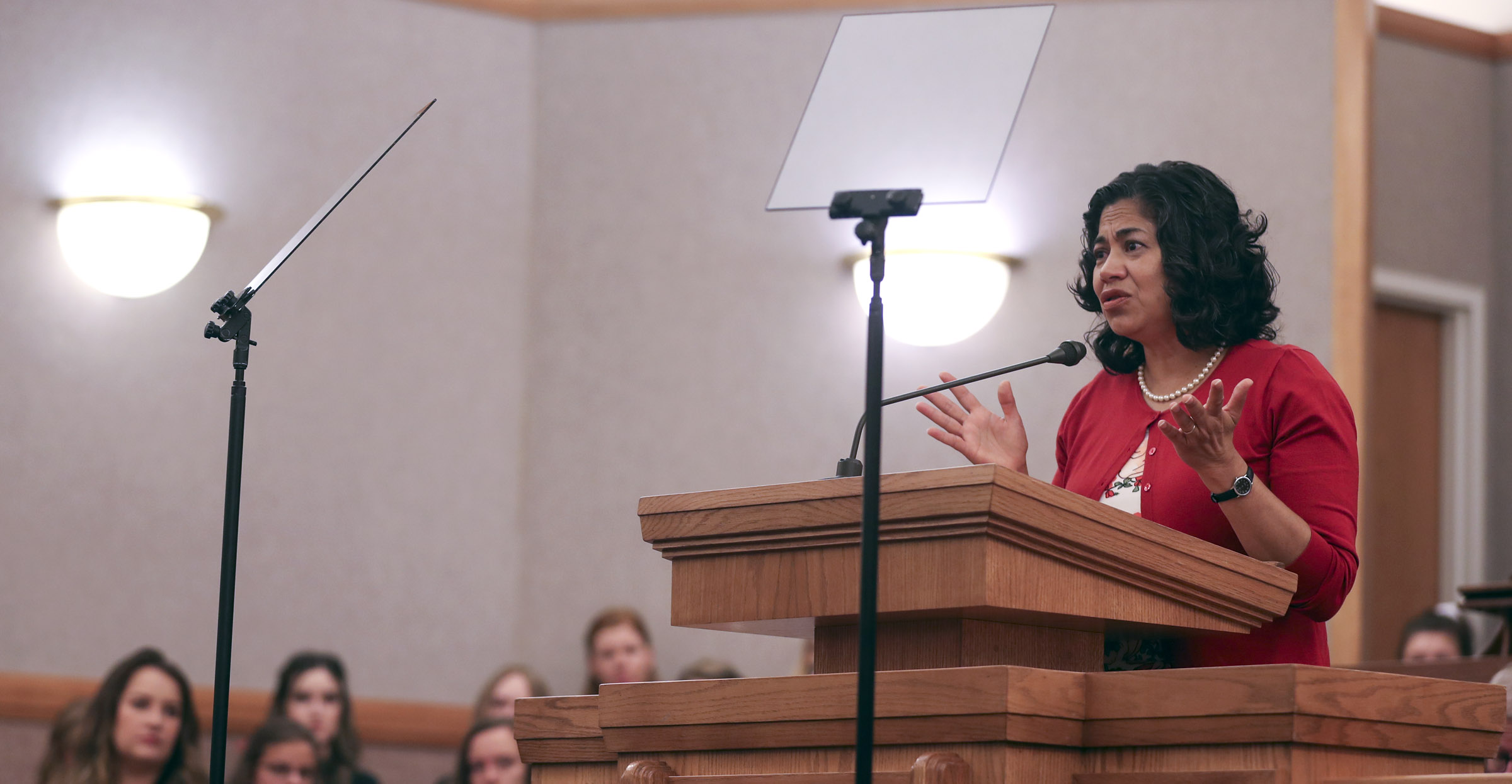Sister Reyna I. Aburto, of the Relief Society general presidency speaks, during a Salt Lake Institute devotional at the LDS Institute of Religion in Salt Lake City on Thursday, Sept. 13, 2018.
