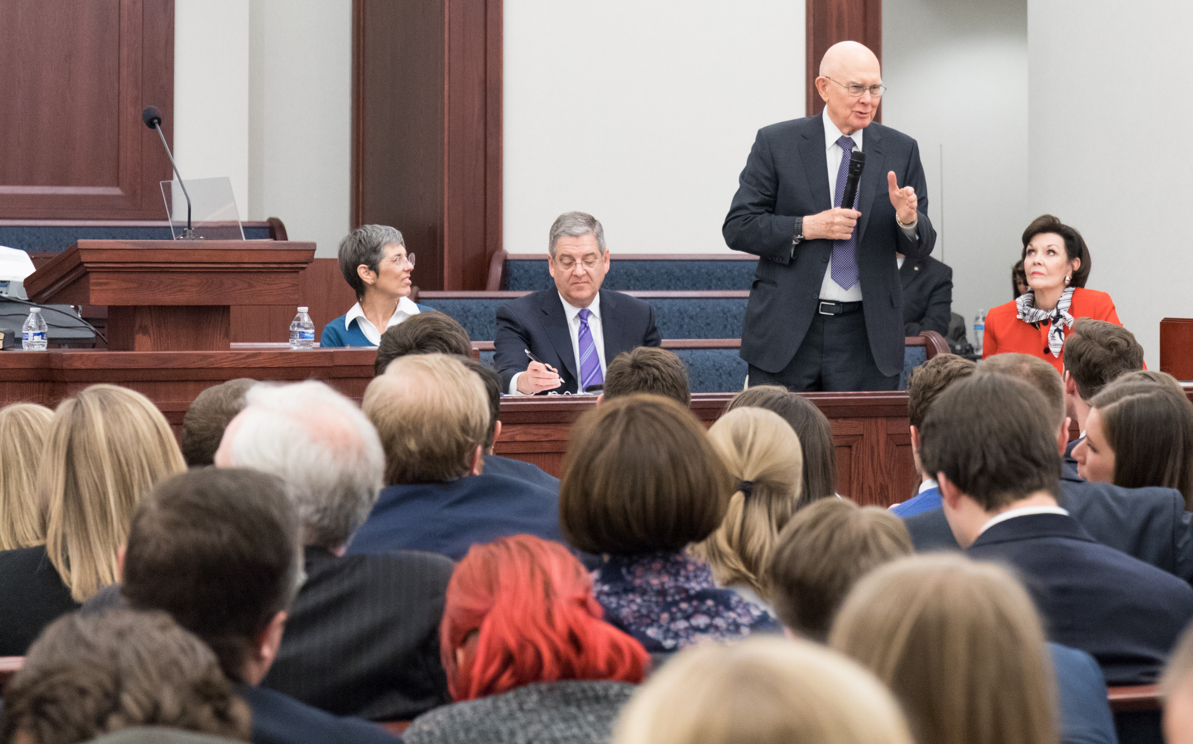 Presdient Dallin H. Oaks shares counsel during panel discussion at Feb. 2, 2019, young marrieds devotional in downtown Chicago.