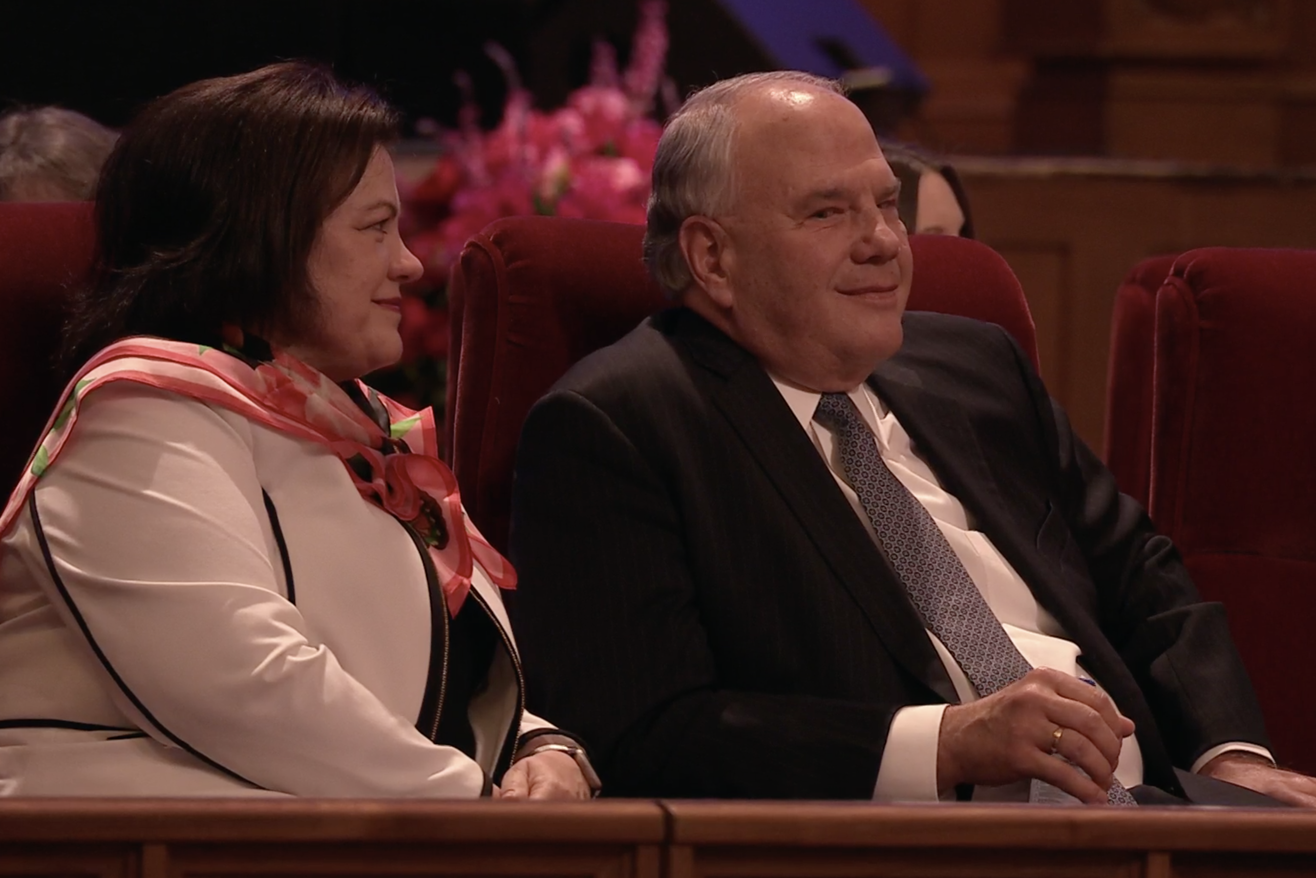 """Elder Ronald A. Rasband of the Quorum of the Twelve Apostles and his wife, Sister Melanie Rasband, participate in """"An Evening with a General Authority"""" devotional, which was broadcast from the Tabernacle on Temple Square on Feb. 8, 2019."""