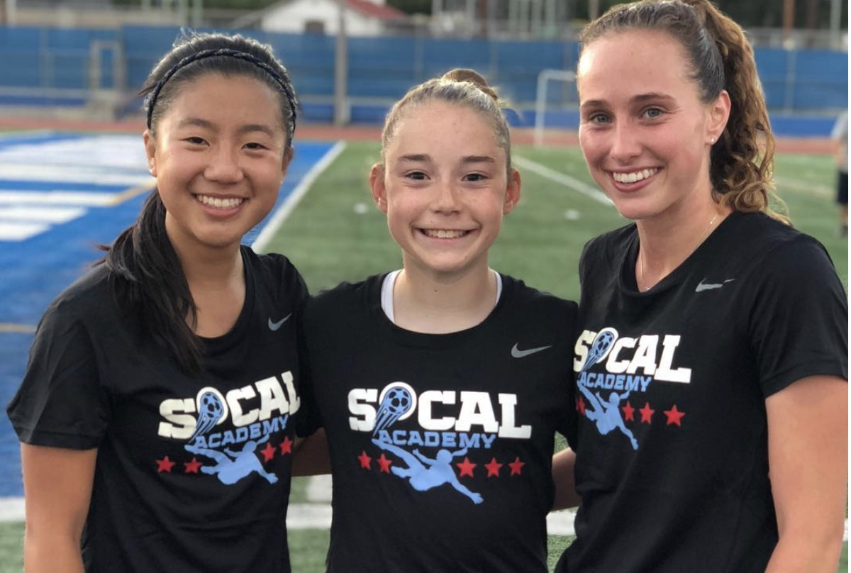 Olivia Moultrie, center, with teammates at the SoCal Academy in June 2018.