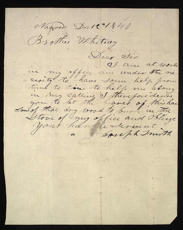 A document showing the personal handwriting of Joseph Smith.
