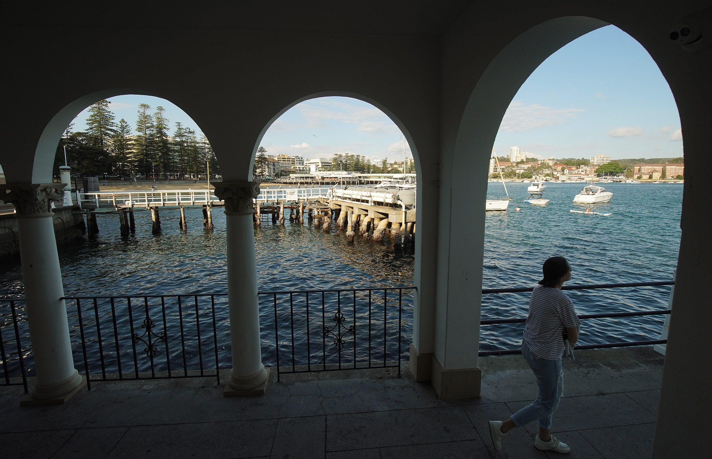 A pedestrian walks near the wharf in Manly, Australia, on May 18, 2019. President Russell M. Nelson, with his wife, Sister Wendy Nelson, visited the city on his nine-day, seven-nation Pacific Ministry Tour.