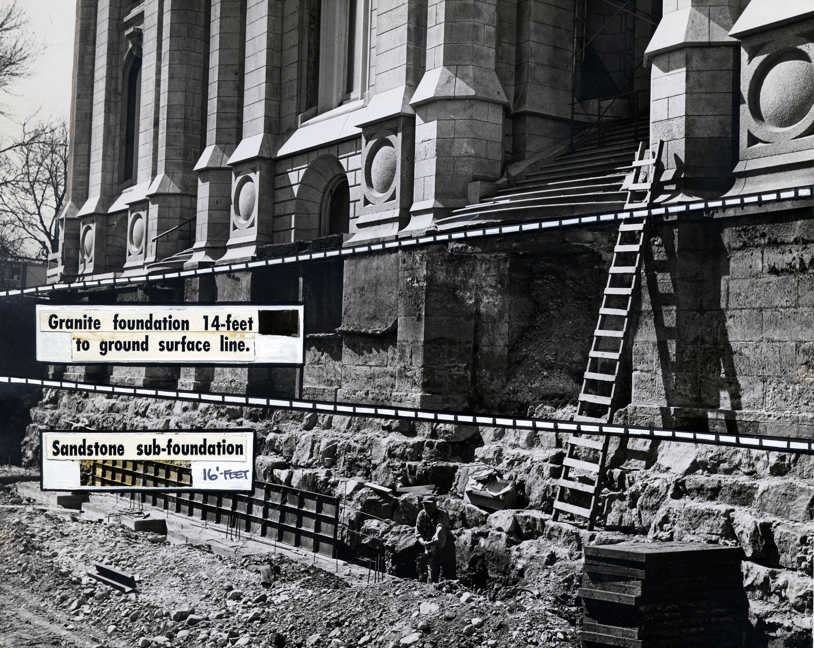 The sandstone sub-foundation to the granite foundations under the main entrance to the Salt Lake Temple are exposed during work on March 30, 1963.