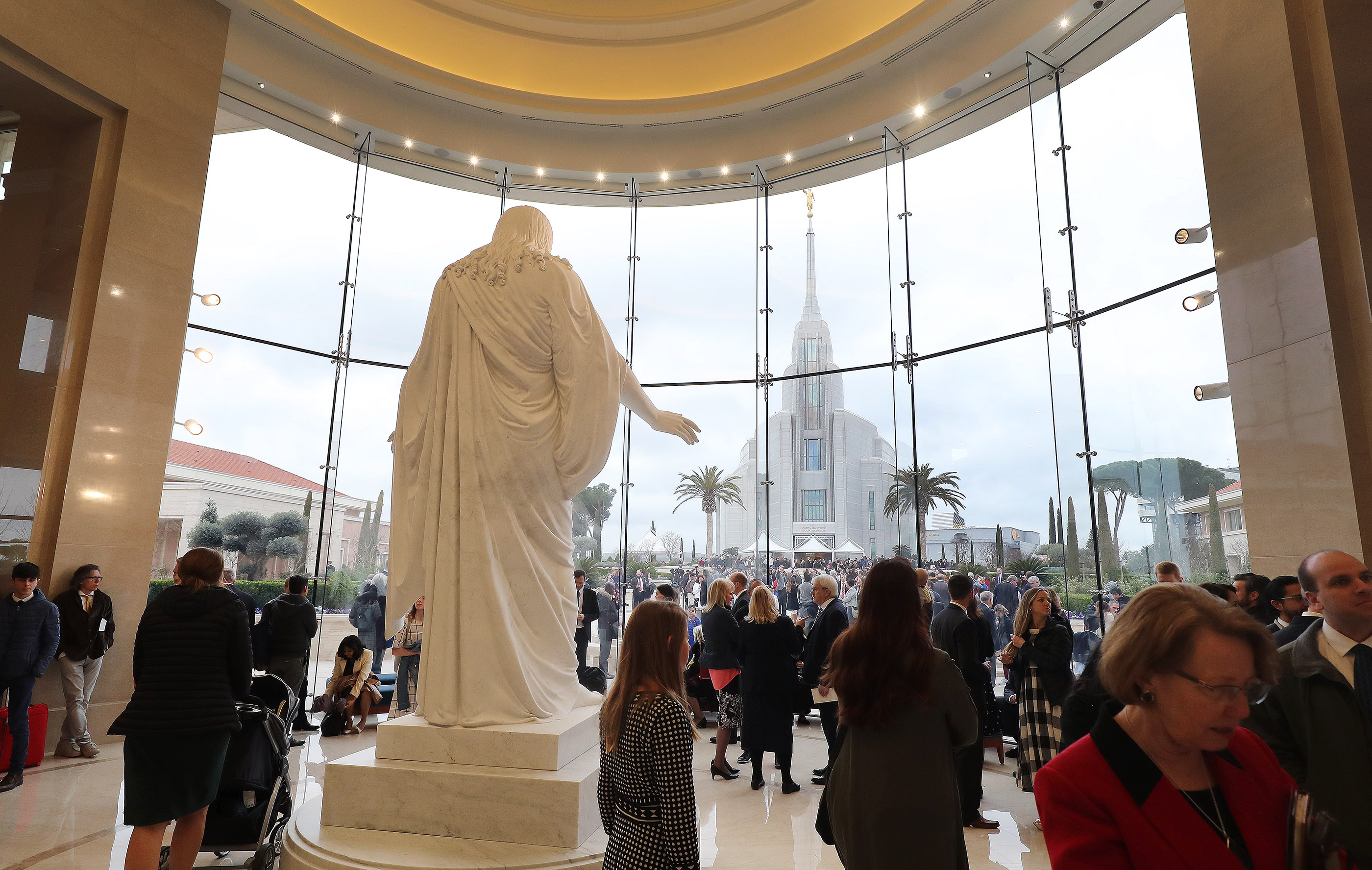 Visitors wander through the visitors' center during dedication of the Rome Italy Temple in Rome, Italy, on Sunday, March 10, 2019.