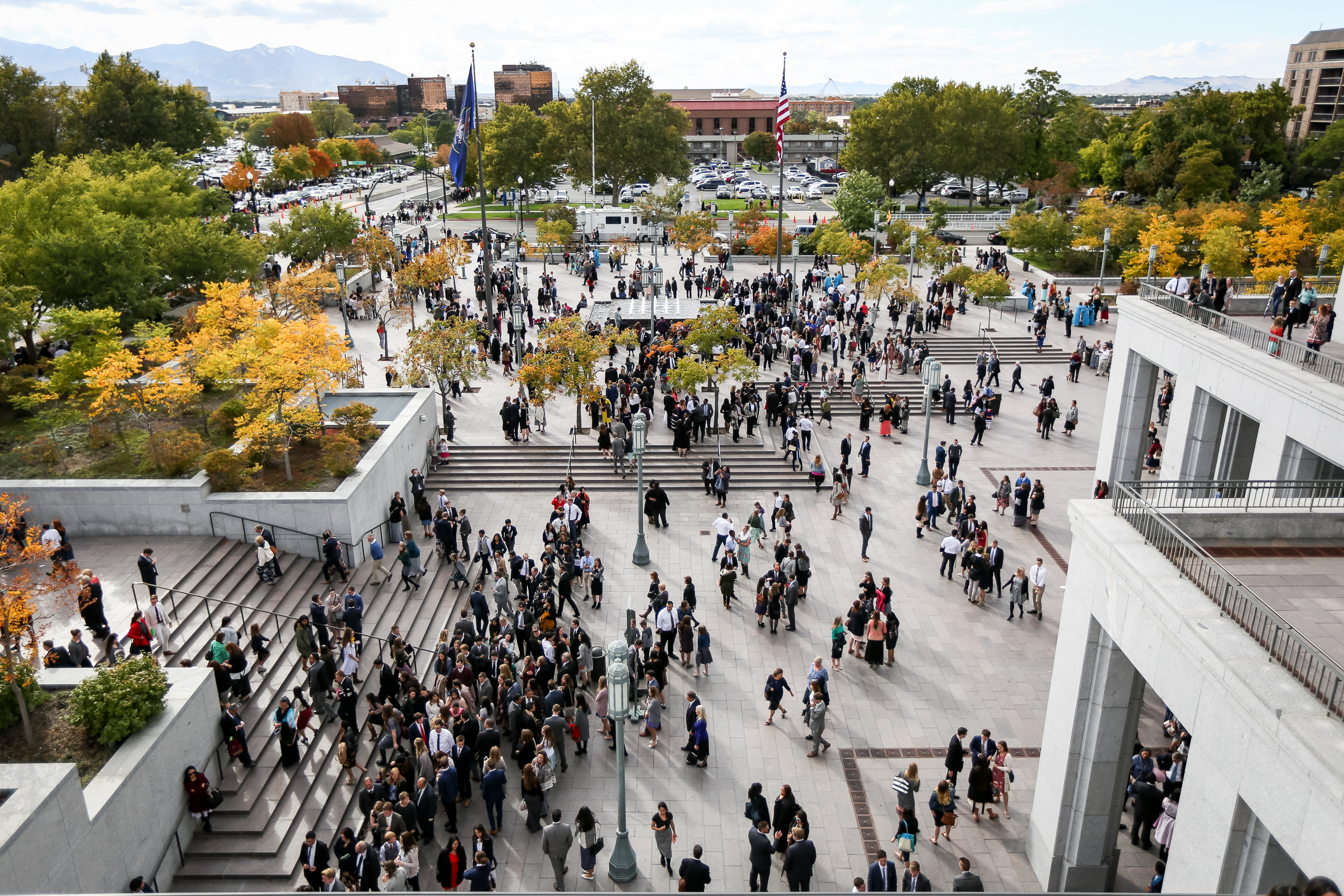 Conferencegoers exit the Conference Center after the Sunday afternoon session of the LDS Church's 187th Semiannual General Conference in Salt Lake City on Sunday, Oct. 1, 2017.