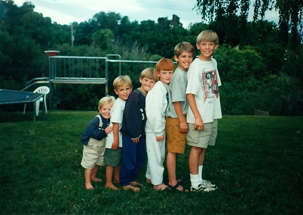 The six Featherstone sons. From left: Ben, Nate, Sam, Zach, Joesph, Jake.