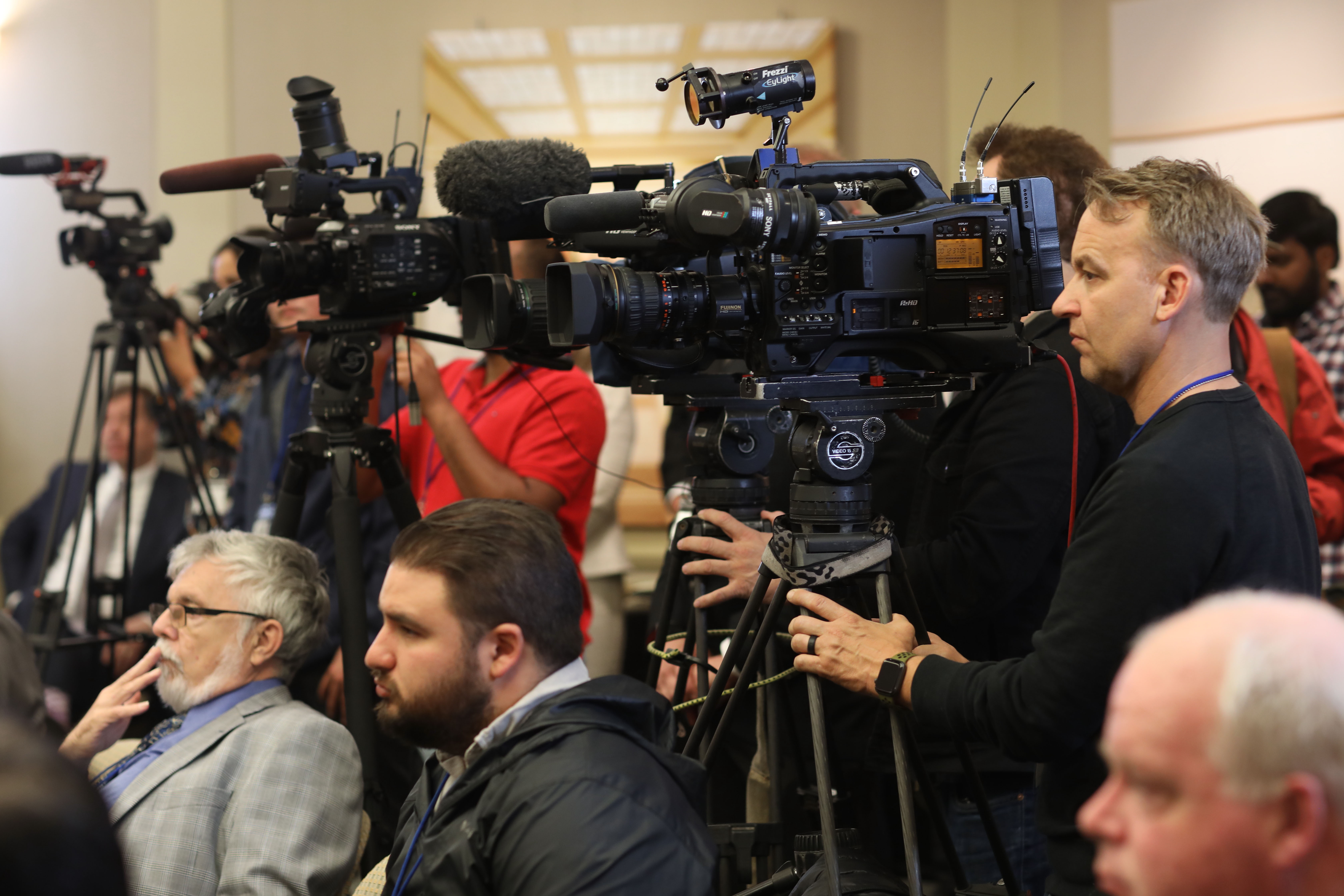 Members of the news media attend a briefing, hosted by The Church of Jesus Christ of Latter-day Saints, about the Oakland California Temple, May 6, 2019. The temple was recently renovated.