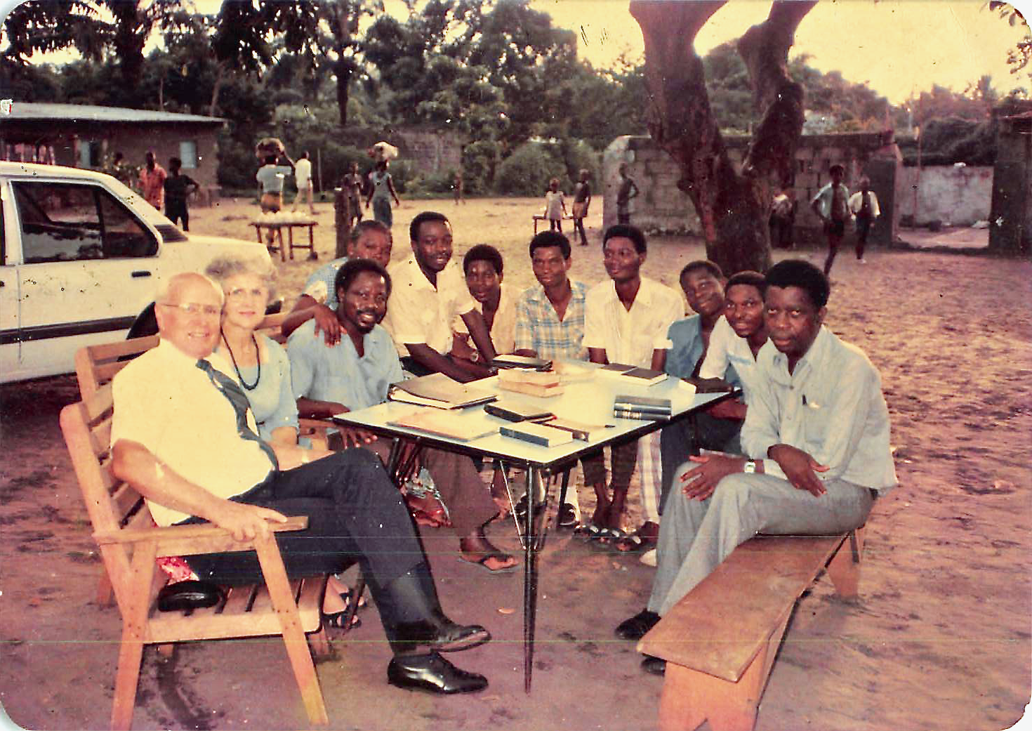 Elder R. Bay Hutchings and Sister Jean Hutchings, the first two missionaries in Zaire (now the Democratic Republic of the Congo) teach the first missionary lesson at the Banza home in Kinshasa in 1986.