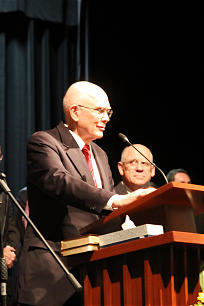 Elder Dallin H. Oaks speaks at the Feb. 9 dedication of the Mexico City Missionary Training Center. MTC President Carl Pratt is in the background.