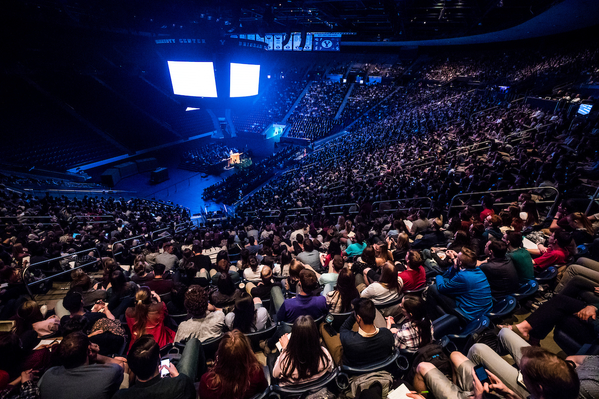 Students gather in the Marriott Center for a campus devotional at BYU on April 10.