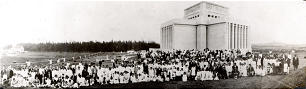 President Heber J. Grant dedicated the Laie Hawaii Temple in five sessions, beginning on Nov. 27, 1919. The first session was attended by 310 members; some 1,500 people came to Laie that day. Many posed for this photo.