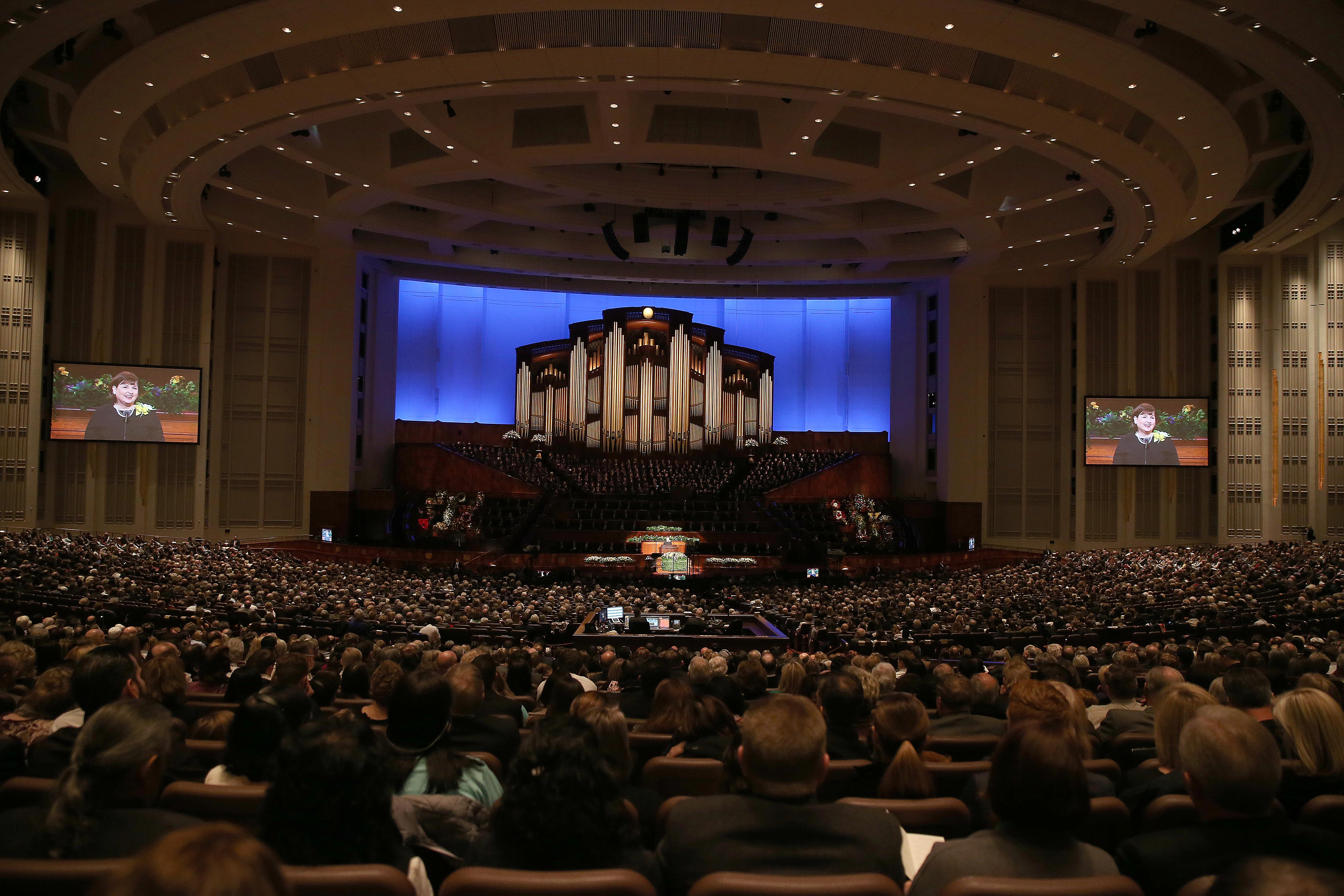 Mourners attend President Thomas S. Monson's funeral at the Conference Center in Salt Lake City on Friday, Jan. 12, 2018.
