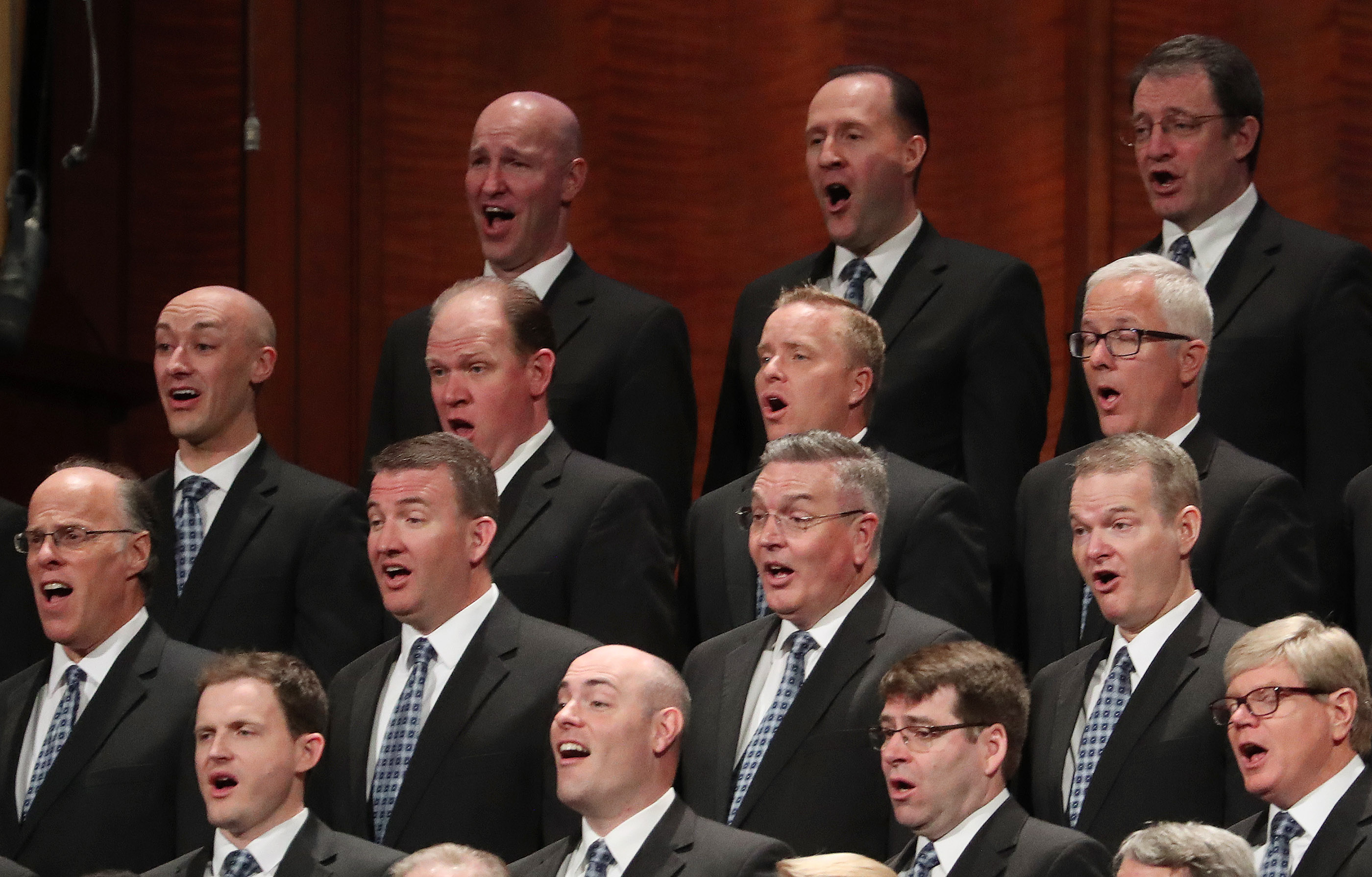 The Tabernacle Choir at Temple Square sings during the 189th Annual General Conference of The Church of Jesus Christ of Latter-day Saints in Salt Lake City on Saturday, April 6, 2019.