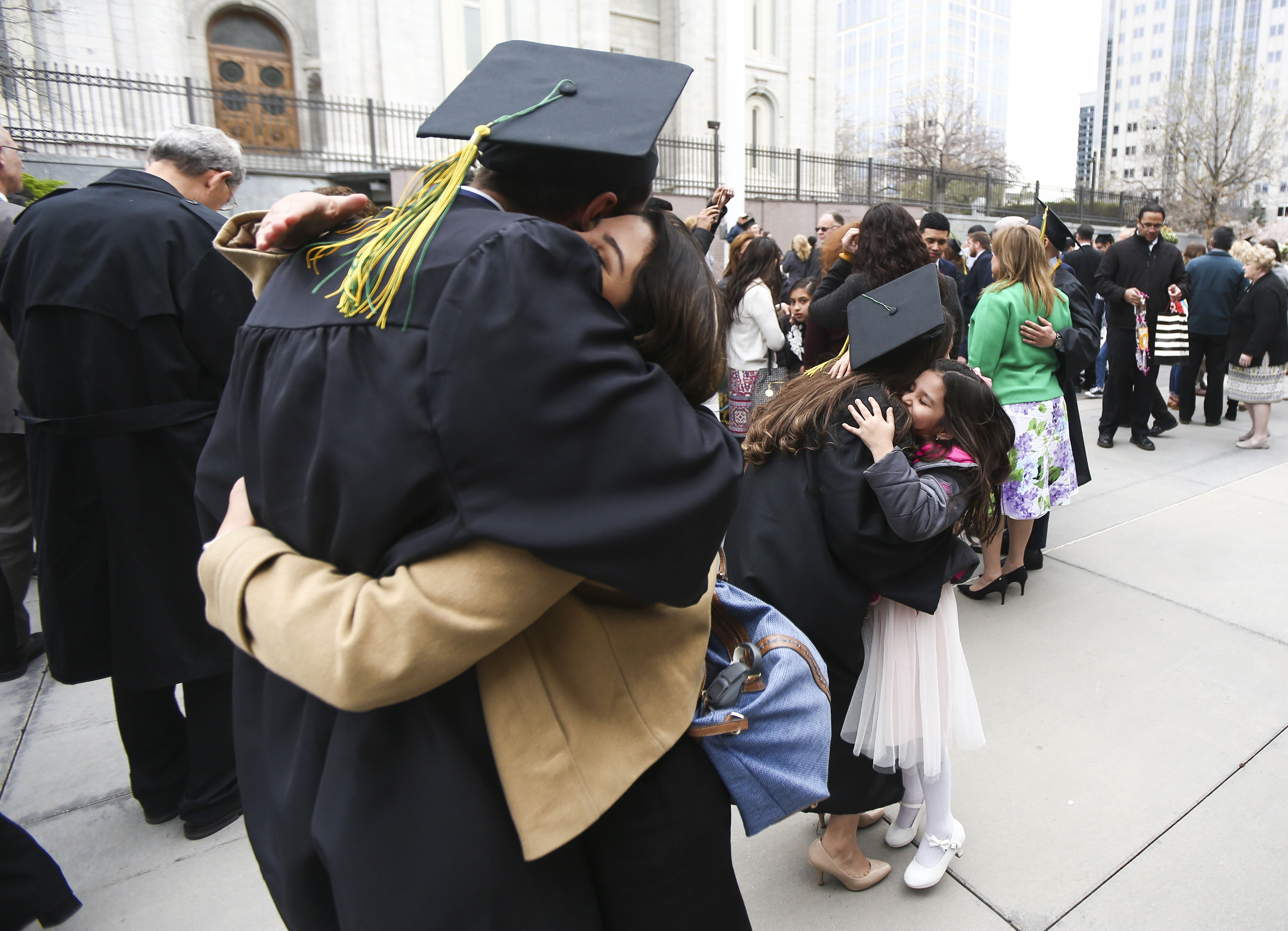 LDS business college students celebrate their graduation at the Tabernacle on Temple Square in Salt Lake City on Friday, April 12, 2019.