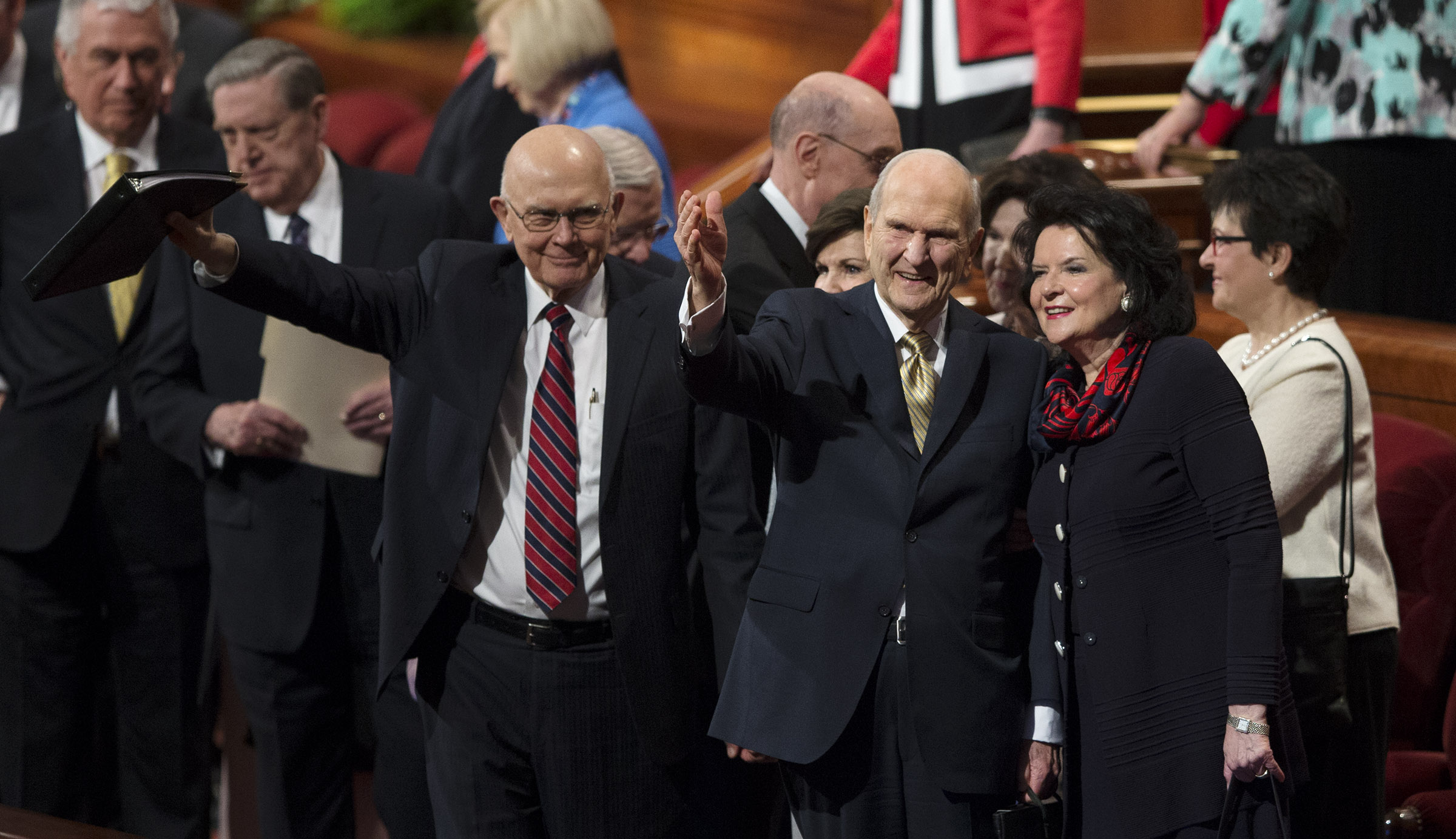 From left to right, President Dallin H. Oaks, first counselor in the First Presidency, LDS Church President Russell M. Nelson and his wife, Sister Wendy Watson Nelson, exit after the Sunday afternoon session of the 188th Annual General Conference of The Church of Jesus Christ of Latter-day Saints, in the Conference Center in Salt Lake City on Sunday, April 1, 2018.