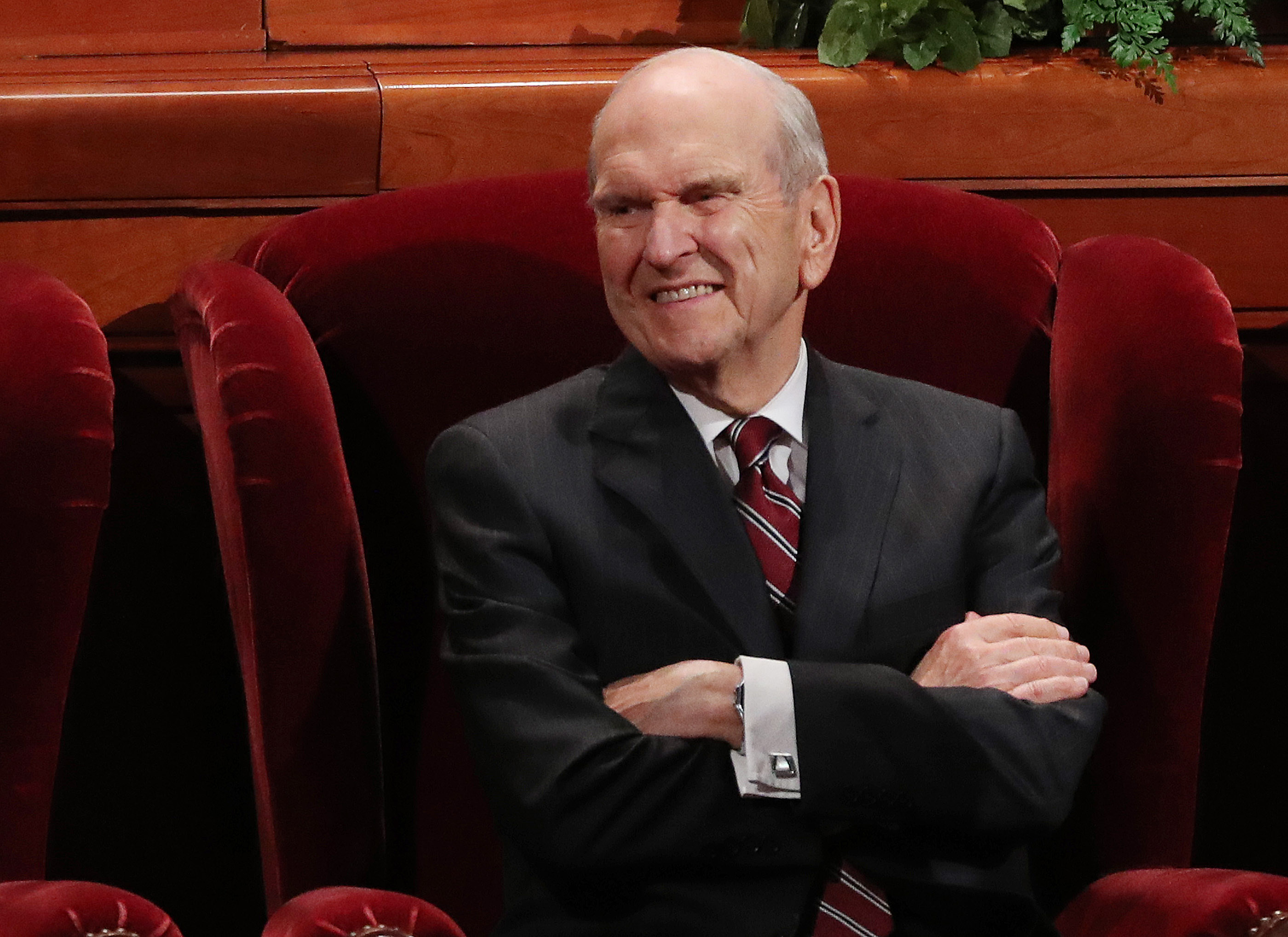 President Russell M. Nelson smiles at attendees during the Saturday afternoon session of the 188th Semiannual General Conference of The Church of Jesus Christ of Latter-day Saints in the Conference Center in Salt Lake City on Saturday, Oct. 6, 2018.