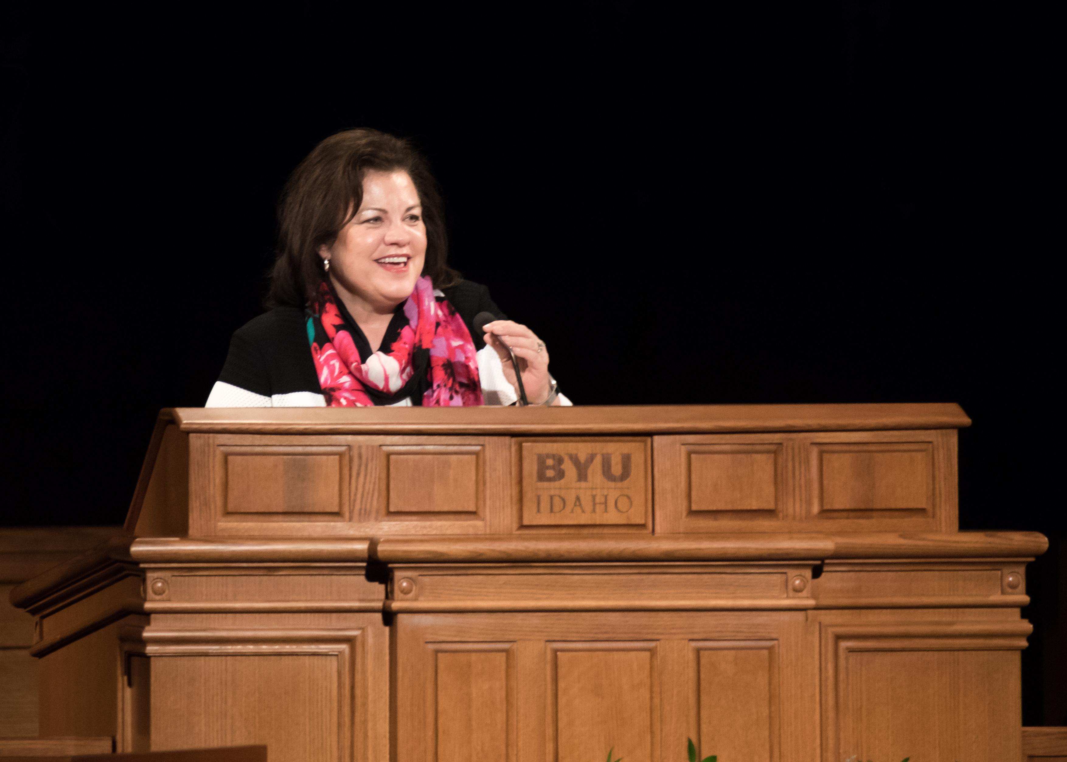 Sister Melanie Rasband speaks during a devotional held in the BYU-Idaho Center on April 28, 2019.