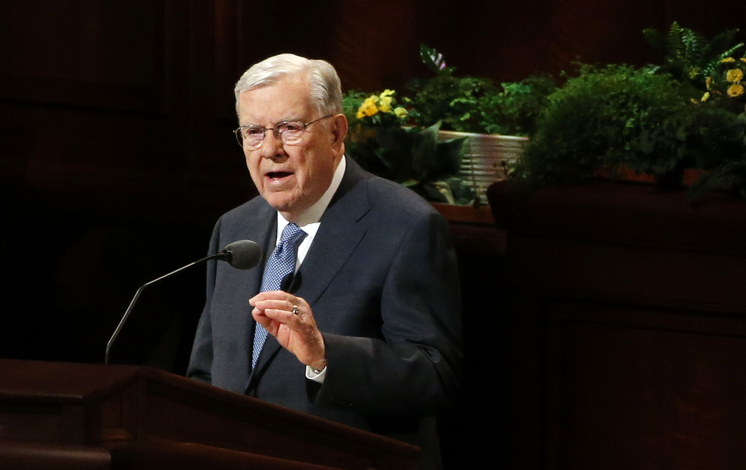 President M. Russell Ballard, acting president of the Quorum of the Twelve Apostles, speaks during the Saturday morning session of the 188th Annual General Conference of the LDS Church in Salt Lake City on Saturday, March 31, 2018.