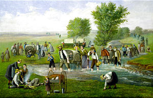 """""""The Handcart Company"""" depicts pioneers who used this method of travel, employed from 1856 to 1860."""