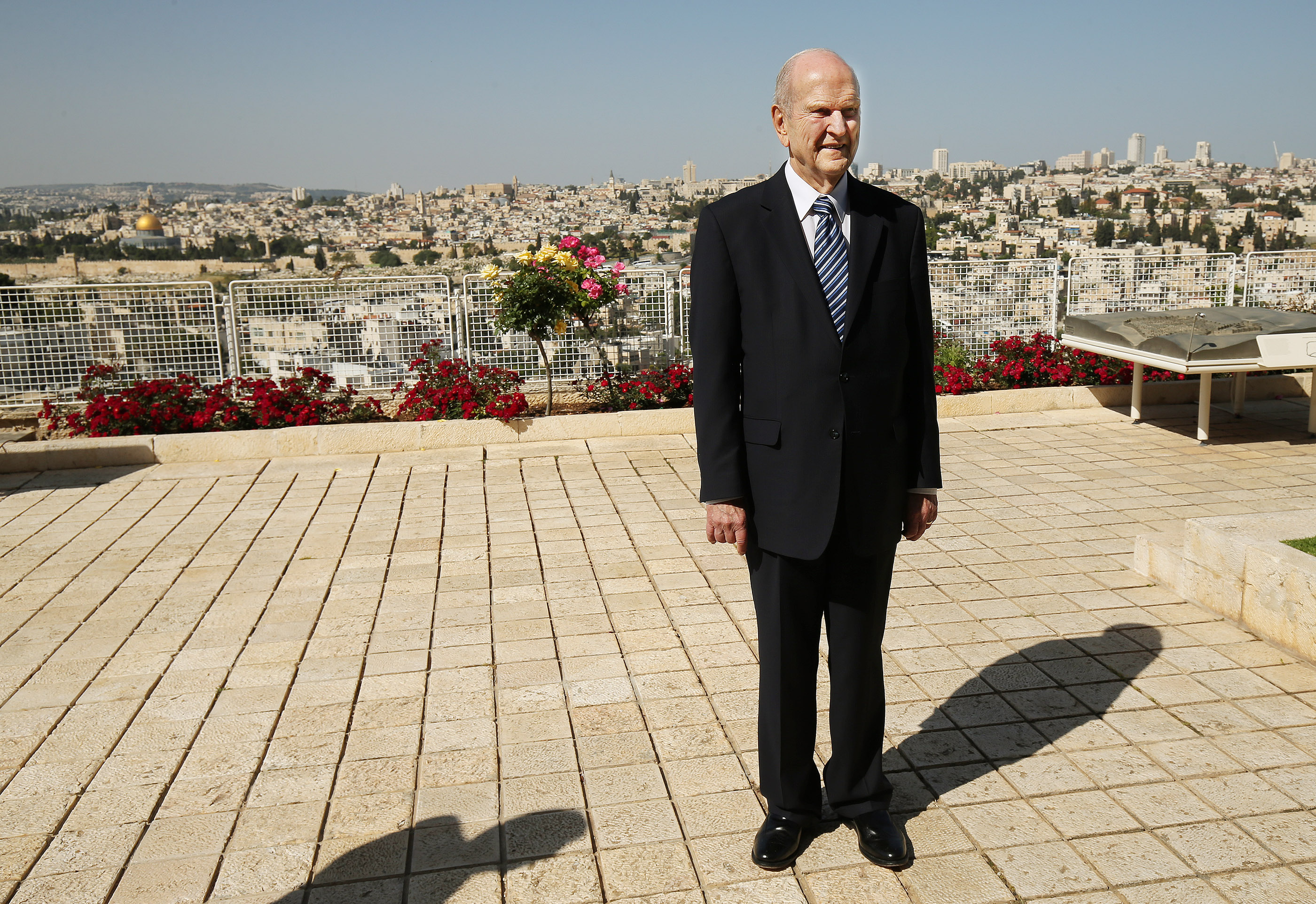 President Russell M. Nelson, president of The Church of Jesus Christ of Latter-day Saints, looks over the grounds at the BYU Jerusalem Center in Jerusalem on Saturday, April 14, 2018. He is on a global tour of eight countries.