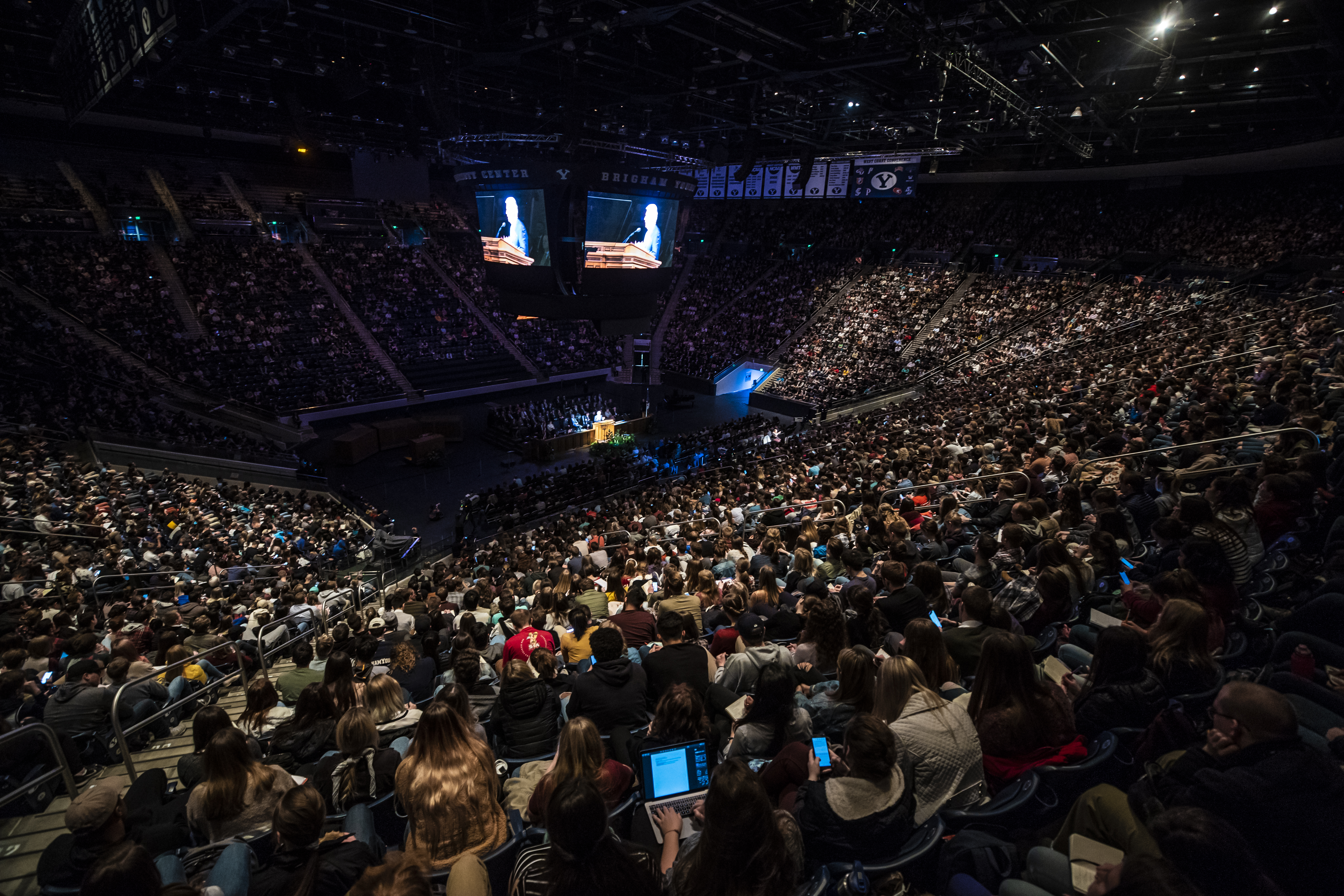 Elder Dieter F. Uchtdorf of the Quorum of the Twelve Apostles speaks during a devotional on the BYU campus in Provo, Utah on Tuesday, Jan. 15, 2019.