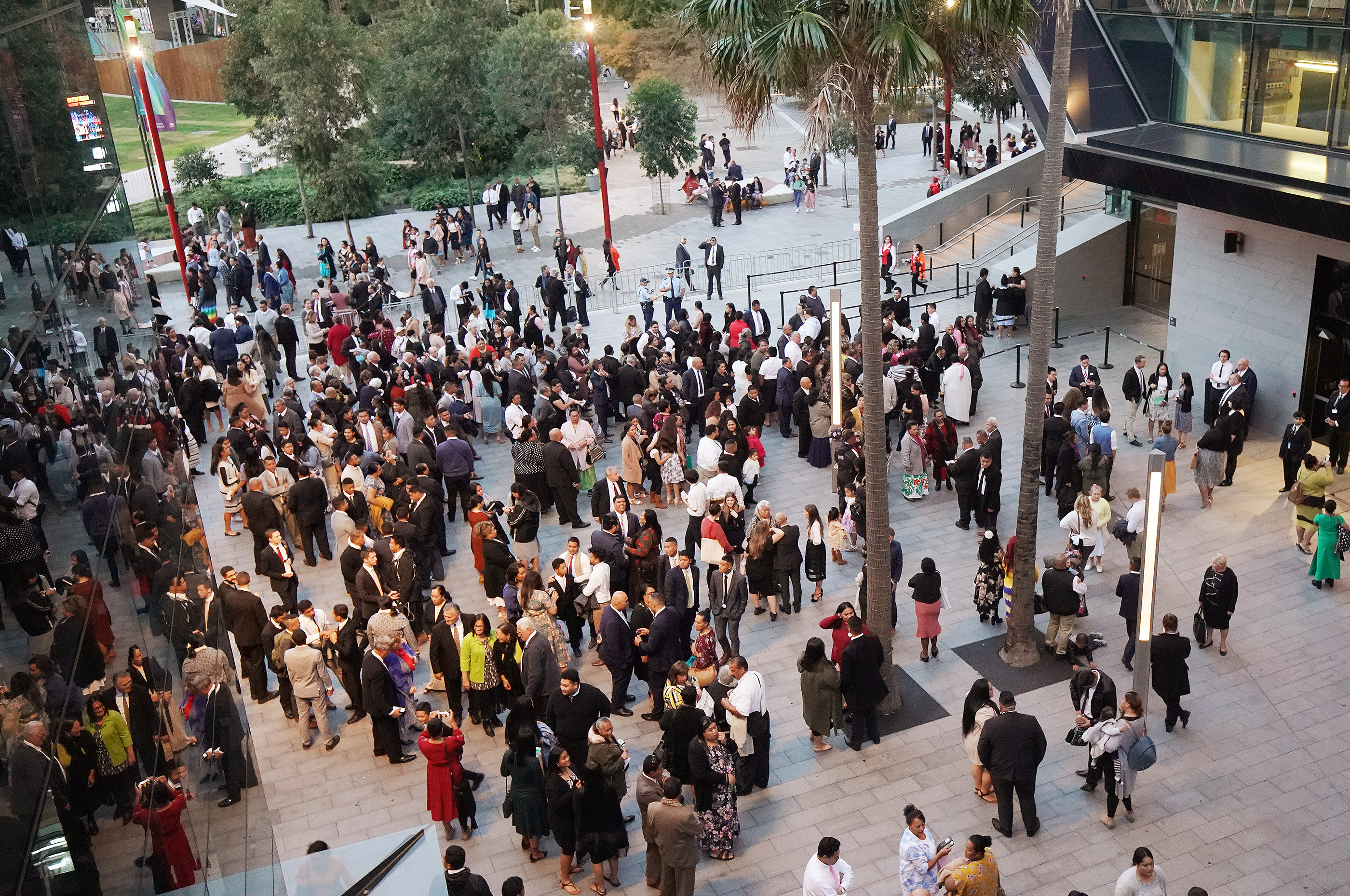 Attendees gather in front of the International Conference Center to hear President Russell M. Nelson of The Church of Jesus Christ of Latter-day Saints on May 19, 2019, in Sydney, Australia.