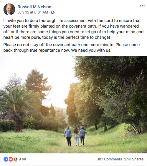 A screenshot from the Facebook page of President Russell M. Nelson. Repentance, prayer and personal revelation were themes this week among the social media accounts of Church leaders.