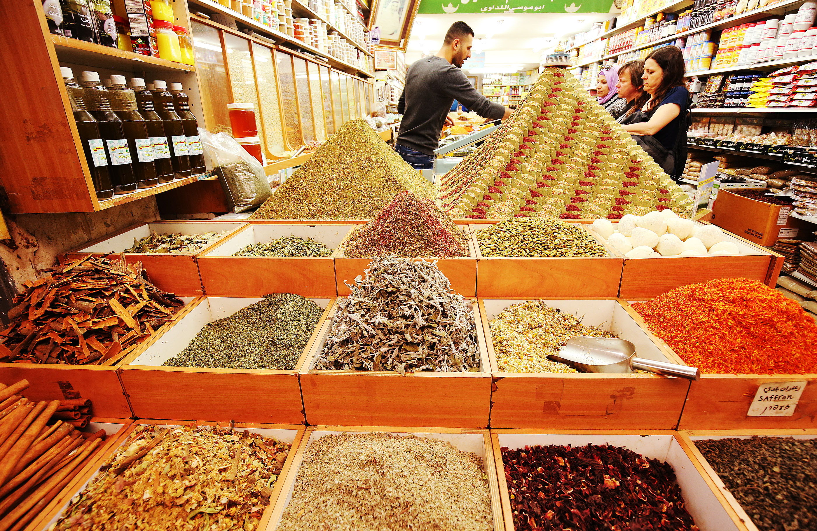 Spices are sold the Old City market in Jerusalem on Friday, April 13, 2018.
