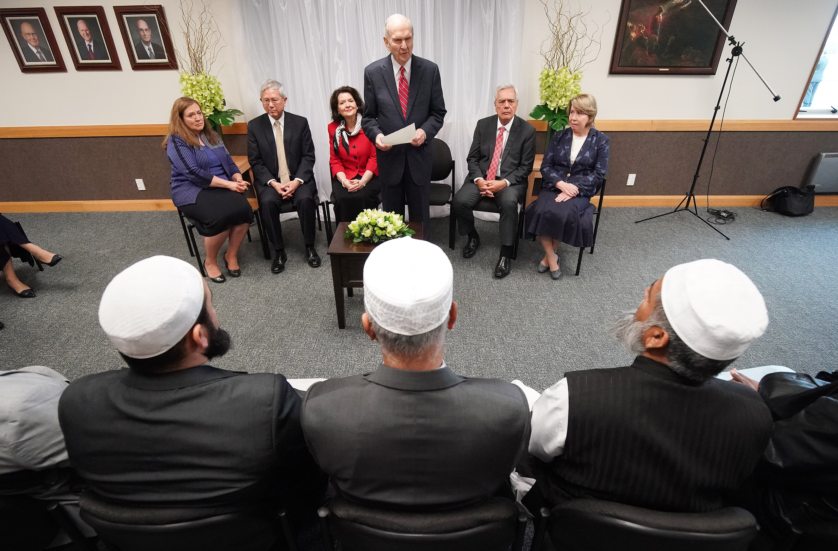 President Russell M. Nelson of The Church of Jesus Christ of Latter-day Saints meets with imams and a victim in Auckland, New Zealand on May 21, 2019 from two mosques that were recently attacked.