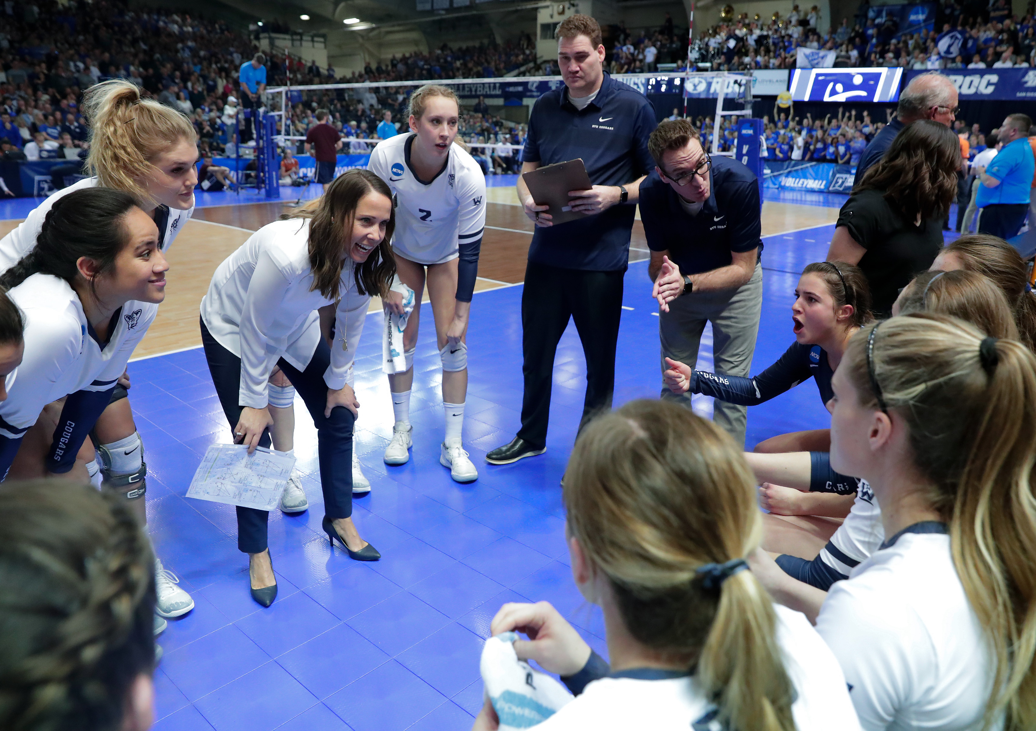 The No. 4 BYU Women's Volleyball team defeats No. 5 Texas 3-0 in the Regional Final of the NCAA Women's Volleyball Championships.