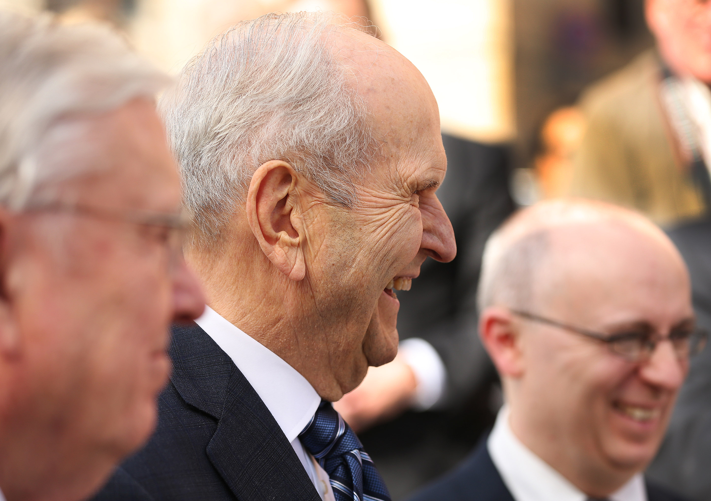 President Russell M. Nelson of The Church of Jesus Christ of Latter-day Saints smiles during a media interview near the Vatican in Rome, Italy on Saturday, March 9, 2019 after meeting with Pope Francis.