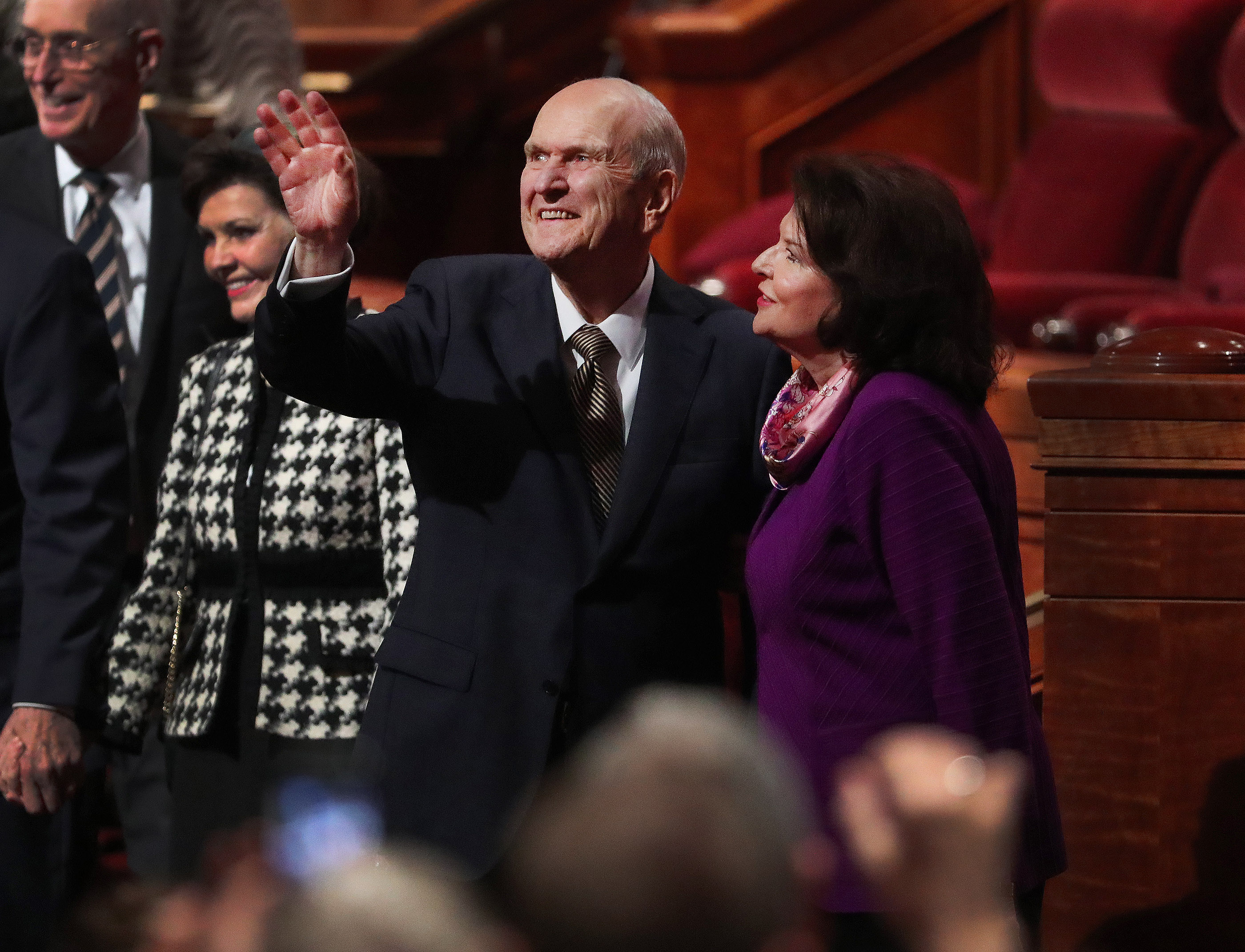 President Russell M. Nelson of The Church of Jesus Christ of Latter-day Saints and his wife, Sister Wendy Nelson, wave to attendees at the close of the 189th Annual General Conference of The Church of Jesus Christ of Latter-day Saints in Salt Lake City on Sunday, April 7, 2019.