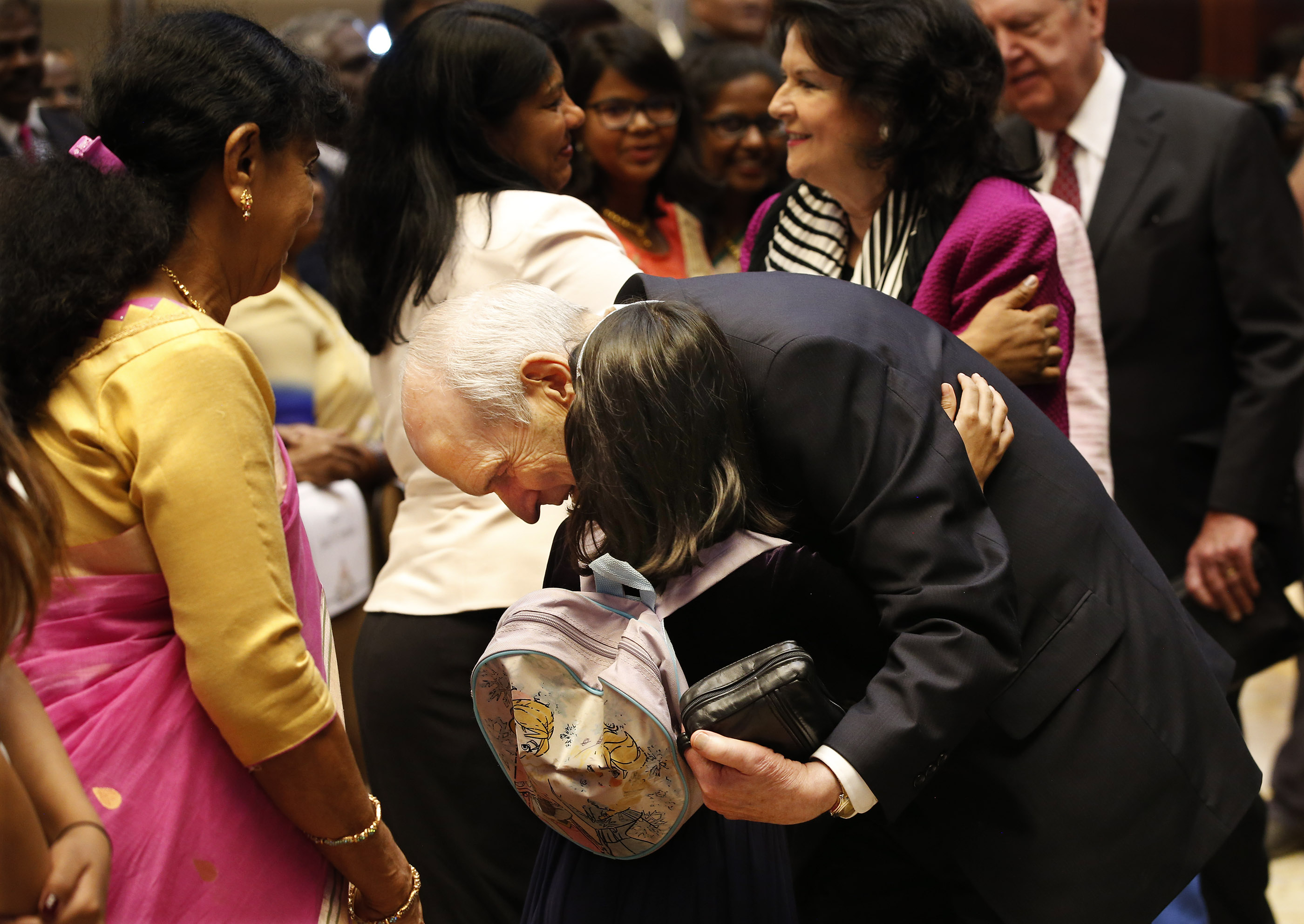 President Russell M. Nelson hugs Roseanne William after the devotional in Bengaluru, India, on Thursday, April 19, 2018.