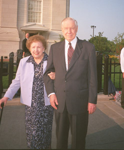President James E. Faust with his wife, Ruth, at Nauvoo Illinois Temple dedication.