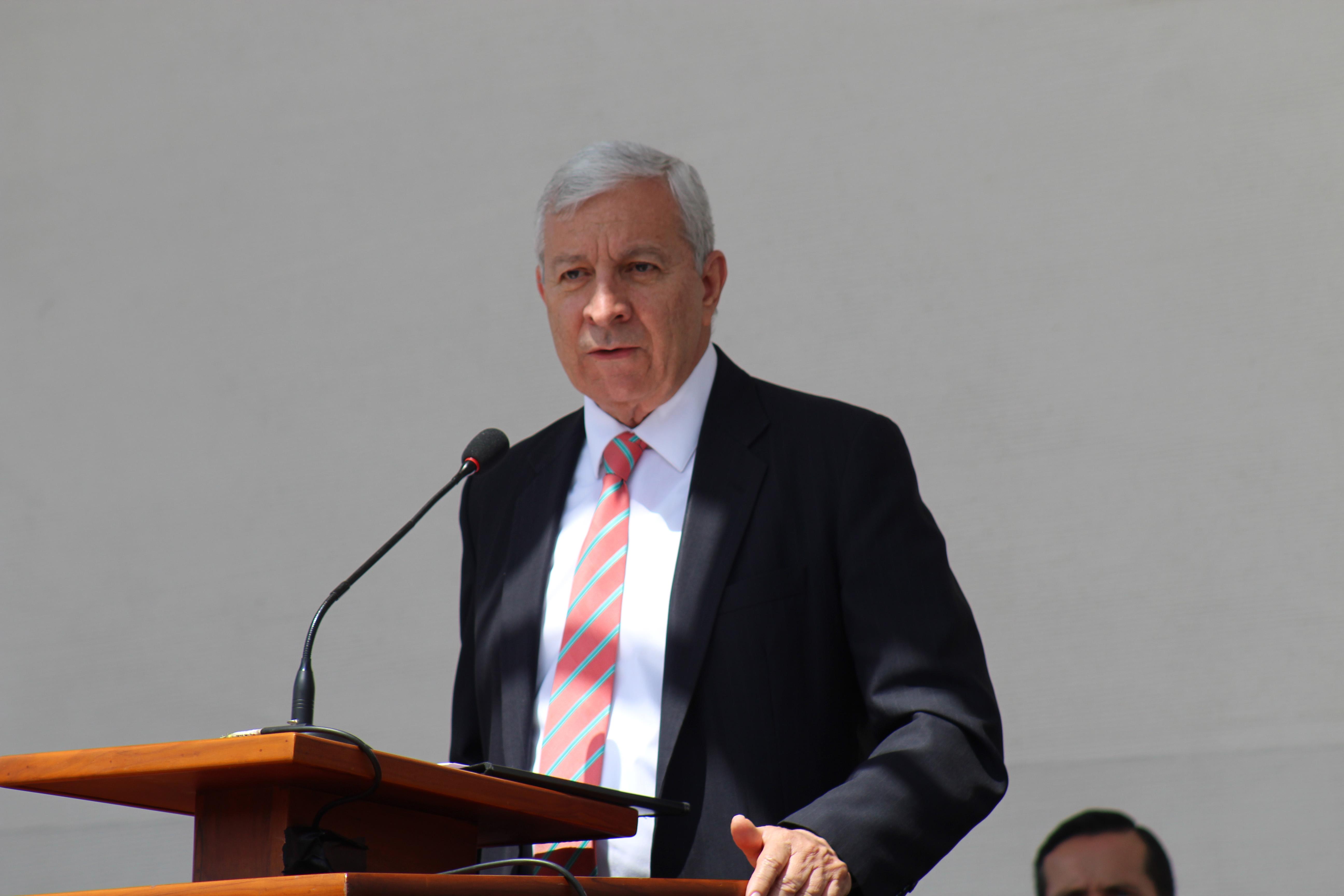 Elder Enrique R. Falabella speaks during the Quito Ecuador Temple groundbreaking on Saturday, May 11, 2019.