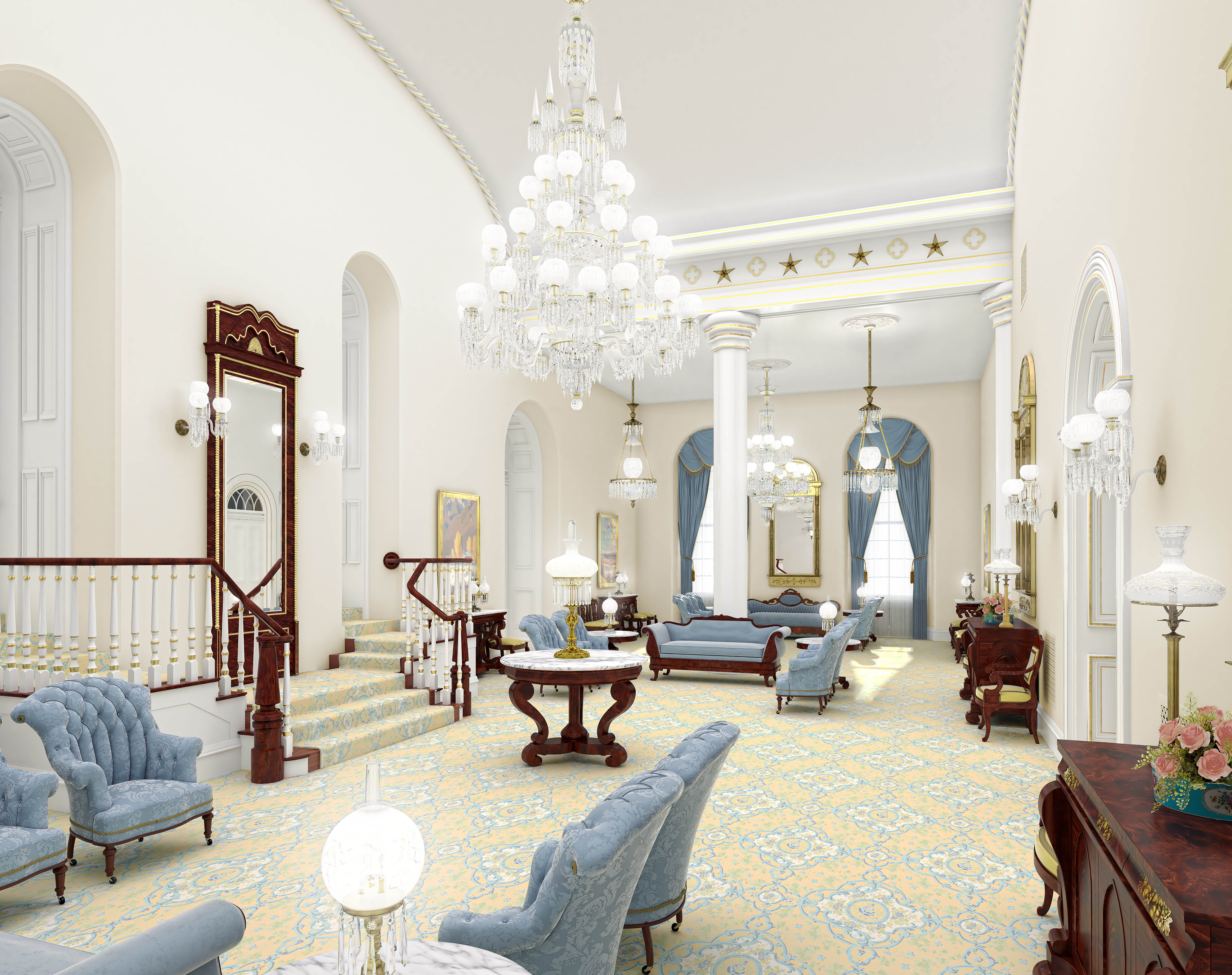 A rendering of the celestial room in the St. George Utah Temple. The temple will close Nov. 4 for extensive renovations.
